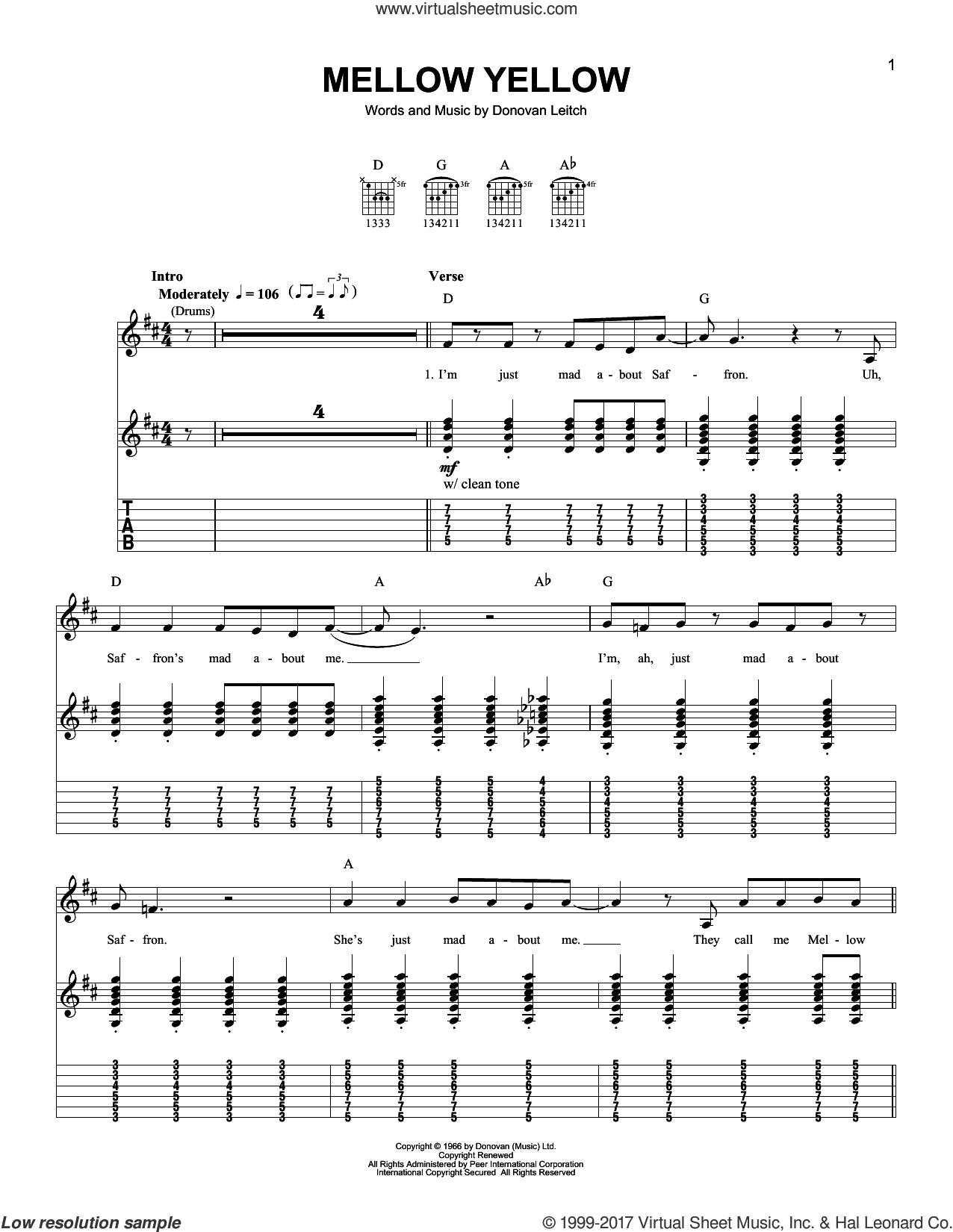 Mellow Yellow sheet music for guitar solo (easy tablature) by Walter Donovan and Donovan Leitch, easy guitar (easy tablature)