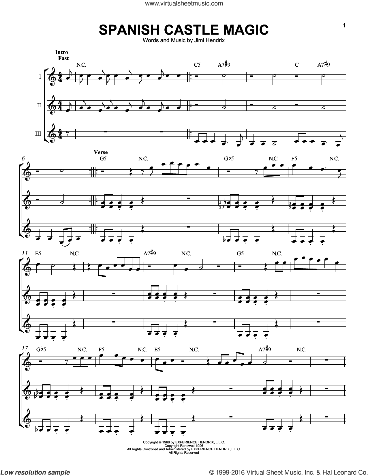 Spanish Castle Magic sheet music for guitar ensemble by Jimi Hendrix, intermediate. Score Image Preview.