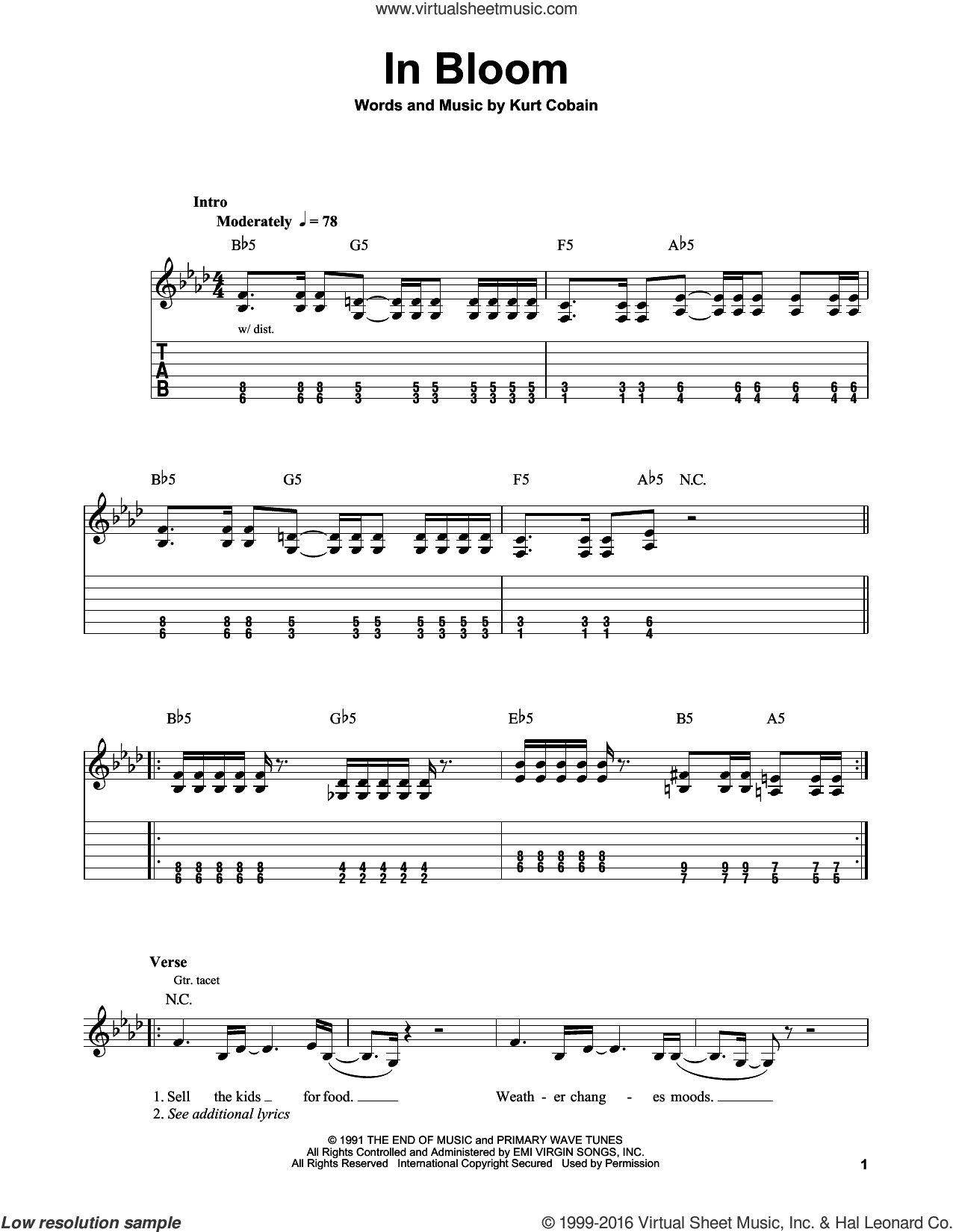 In Bloom sheet music for guitar solo (easy tablature) by Nirvana. Score Image Preview.
