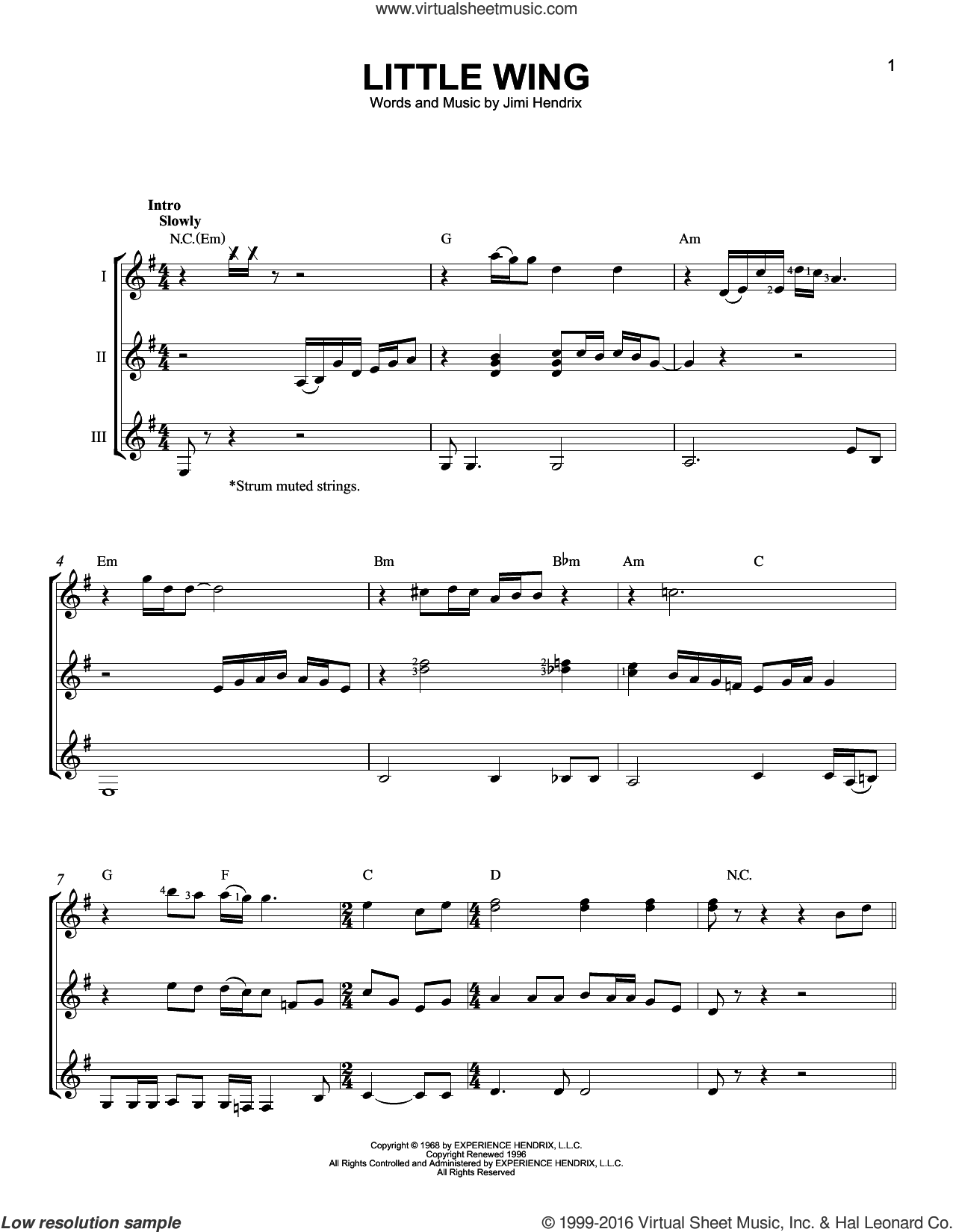 Little Wing sheet music for guitar ensemble by Jimi Hendrix. Score Image Preview.