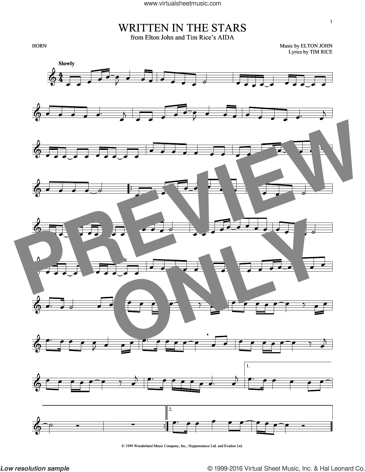 Written In The Stars sheet music for horn solo by Tim Rice and Elton John. Score Image Preview.
