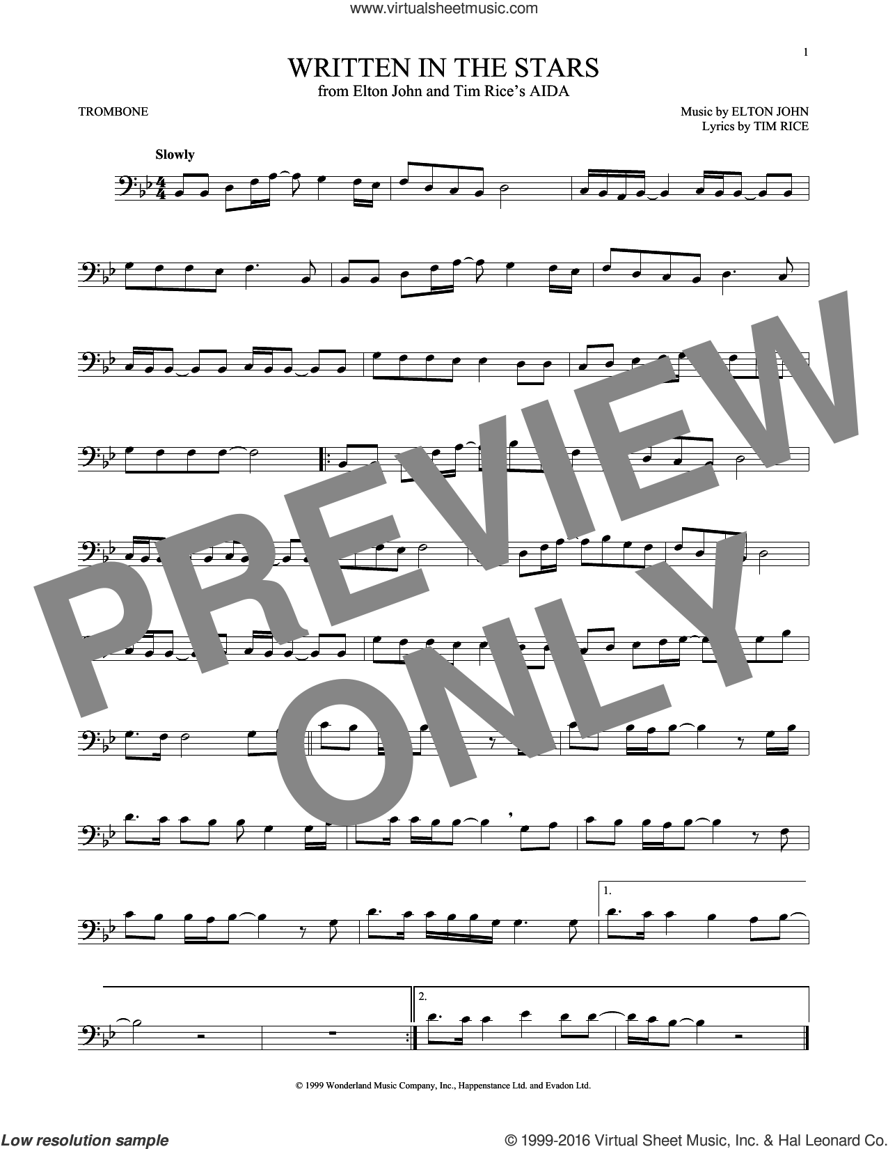 Written In The Stars sheet music for trombone solo by Elton John and Tim Rice, intermediate skill level