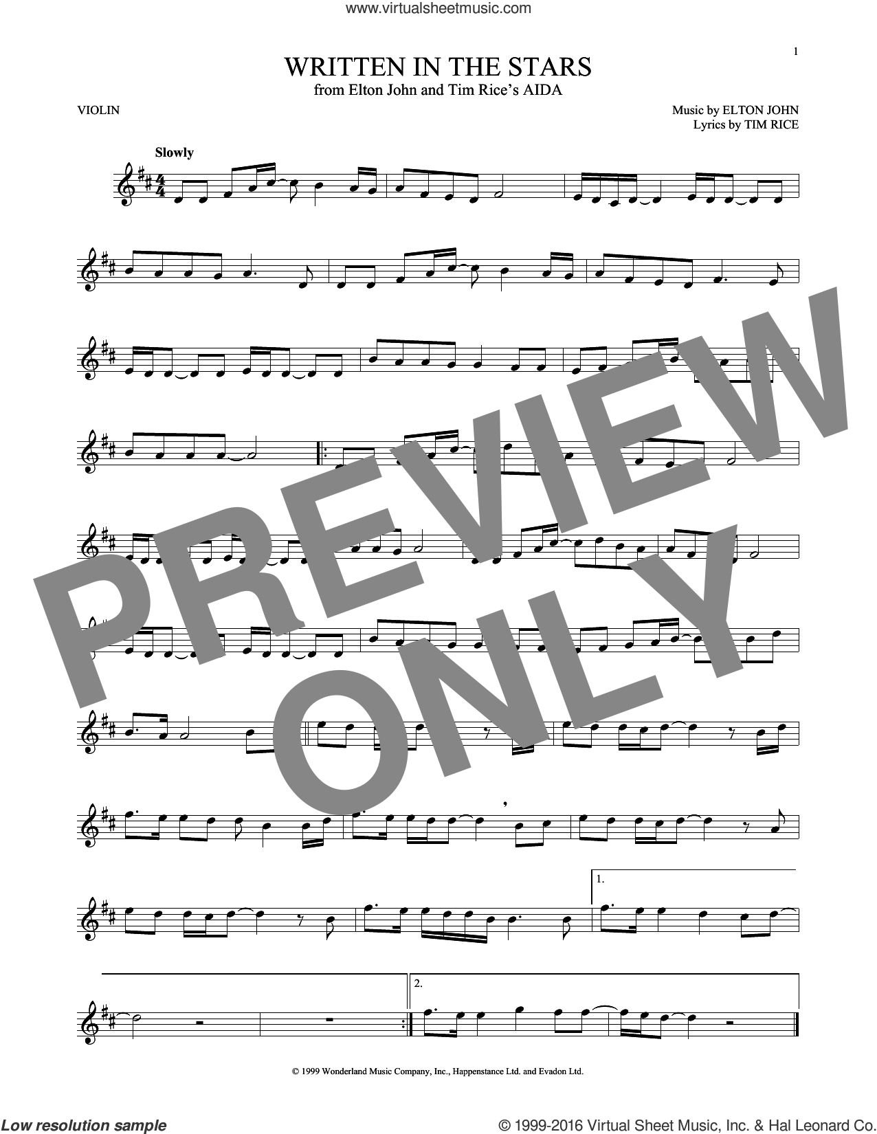 Written In The Stars sheet music for violin solo by Elton John and Tim Rice. Score Image Preview.