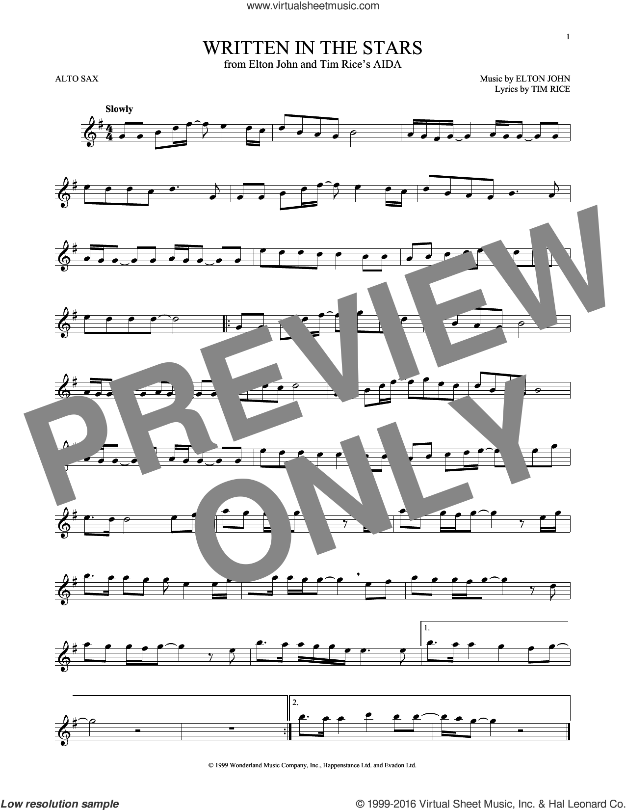 Written In The Stars sheet music for alto saxophone solo by Tim Rice and Elton John. Score Image Preview.