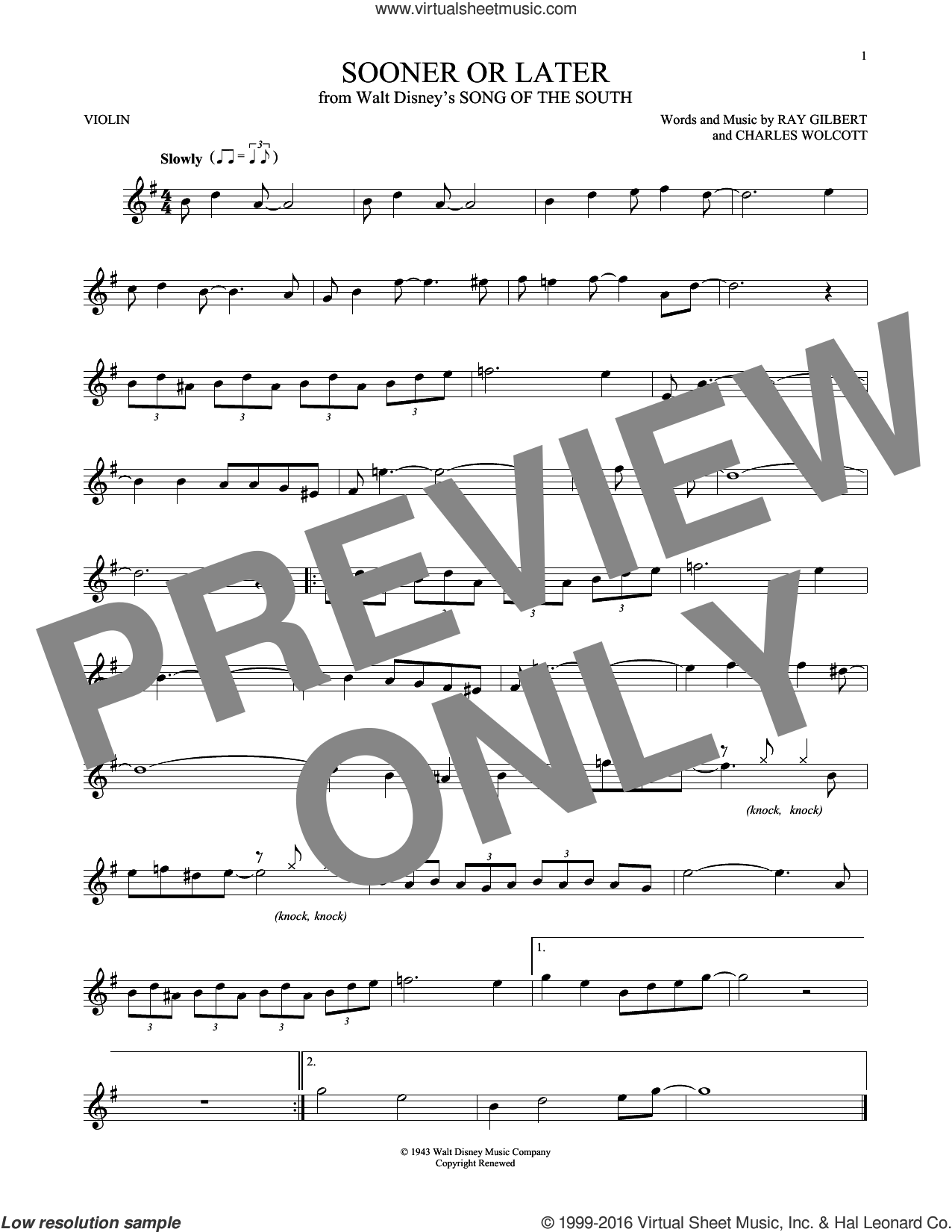 Sooner Or Later sheet music for violin solo by Ray Gilbert and Charles Wolcott, intermediate violin. Score Image Preview.