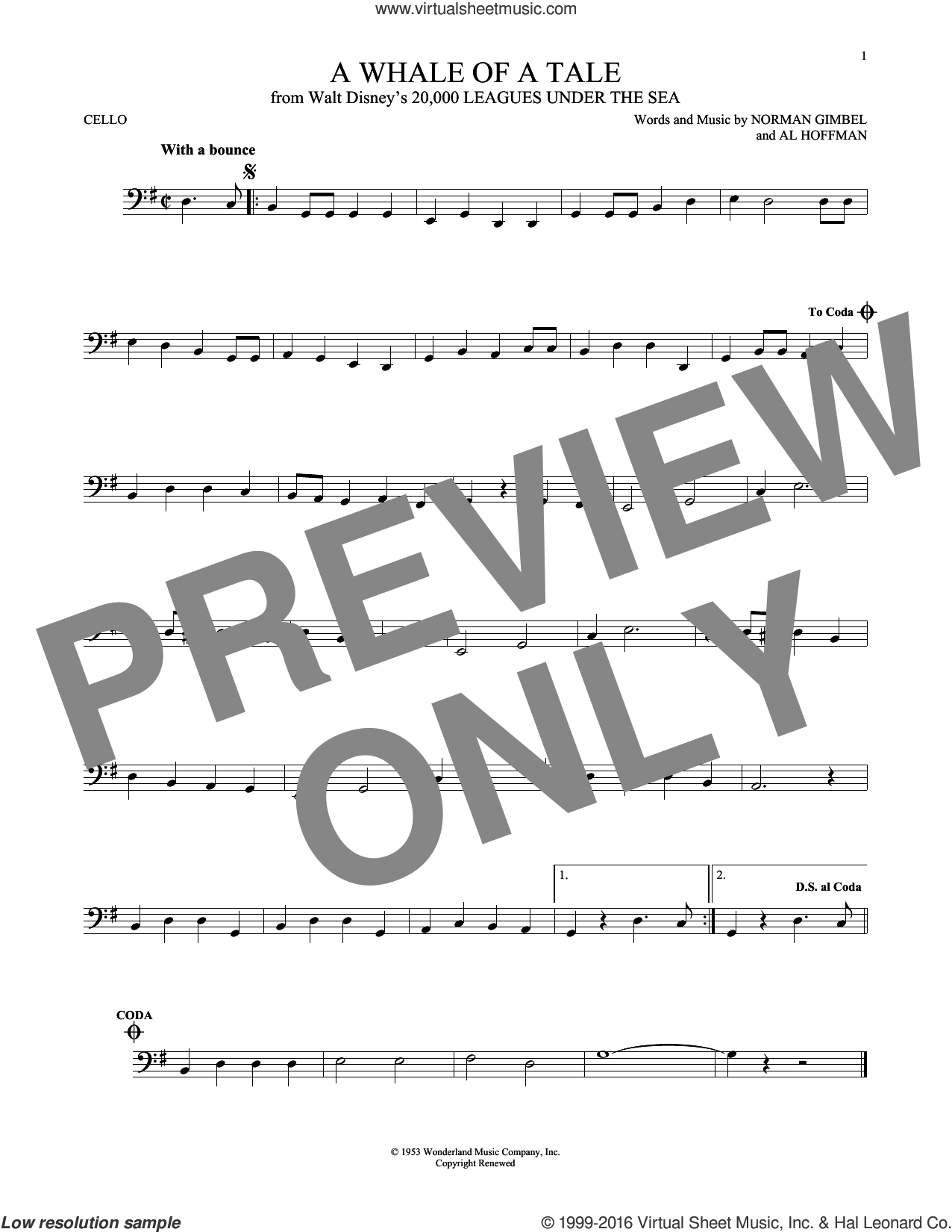 A Whale Of A Tale sheet music for cello solo by Norman Gimbel, Al Hoffman and Norman Gimbel & Al Hoffman, intermediate skill level
