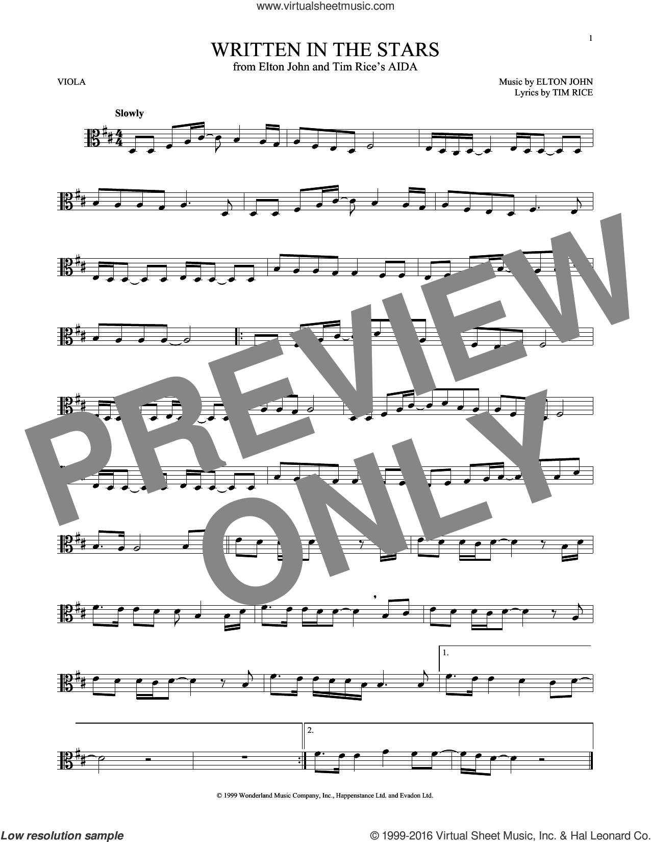Written In The Stars sheet music for viola solo by Elton John and Tim Rice, intermediate skill level