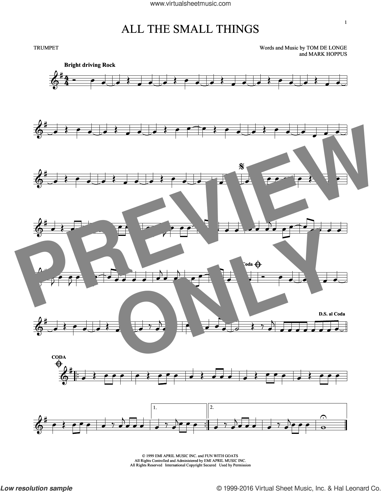 All The Small Things sheet music for trumpet solo by Blink 182, Mark Hoppus, Tom DeLonge and Travis Barker, intermediate skill level