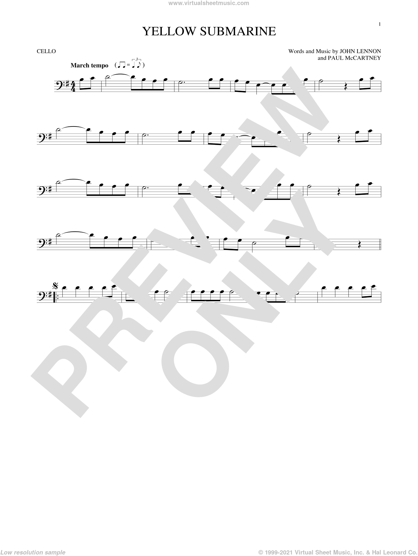 Yellow Submarine sheet music for cello solo by Paul McCartney, The Beatles and John Lennon. Score Image Preview.