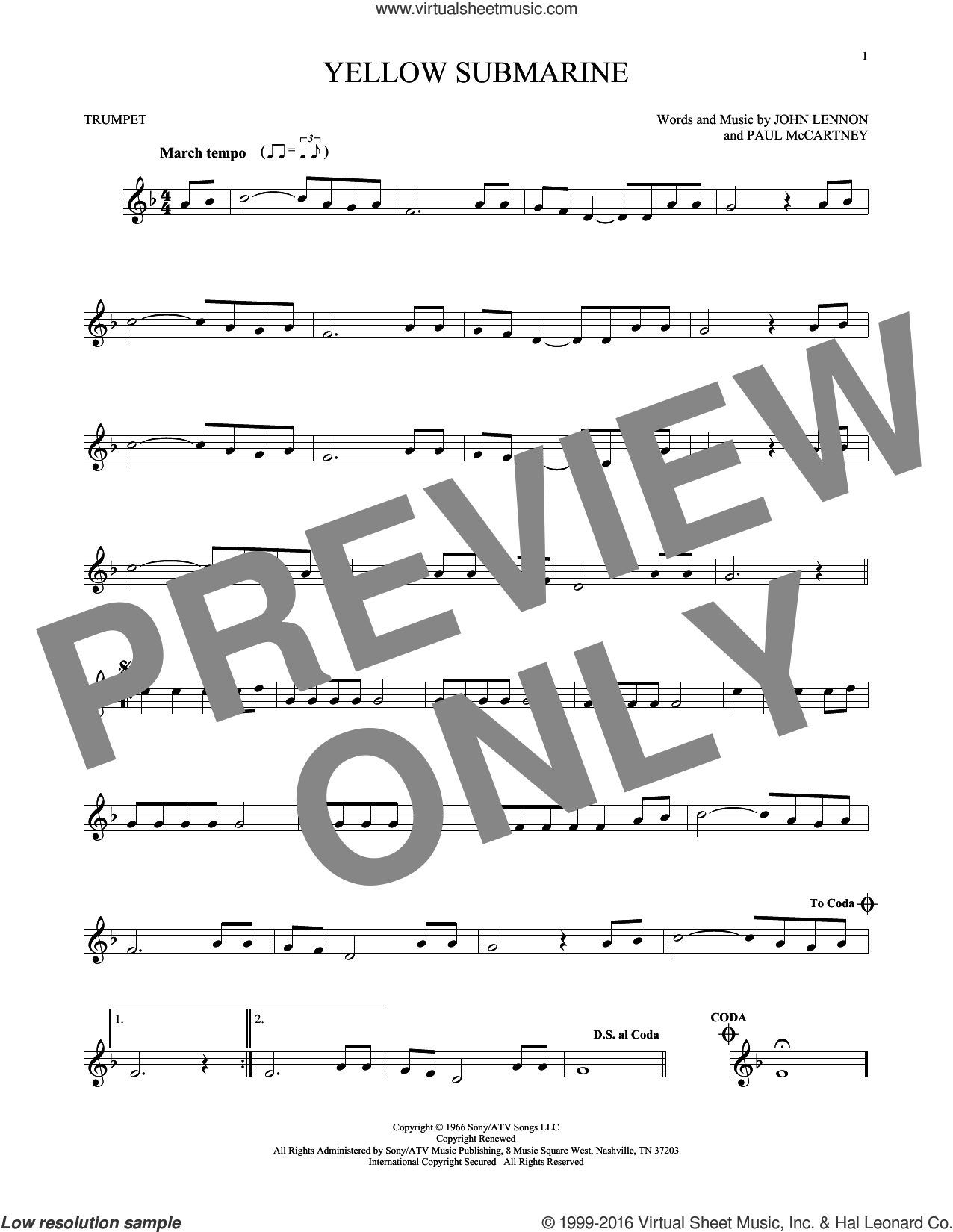 Yellow Submarine sheet music for trumpet solo by The Beatles, John Lennon and Paul McCartney, intermediate skill level