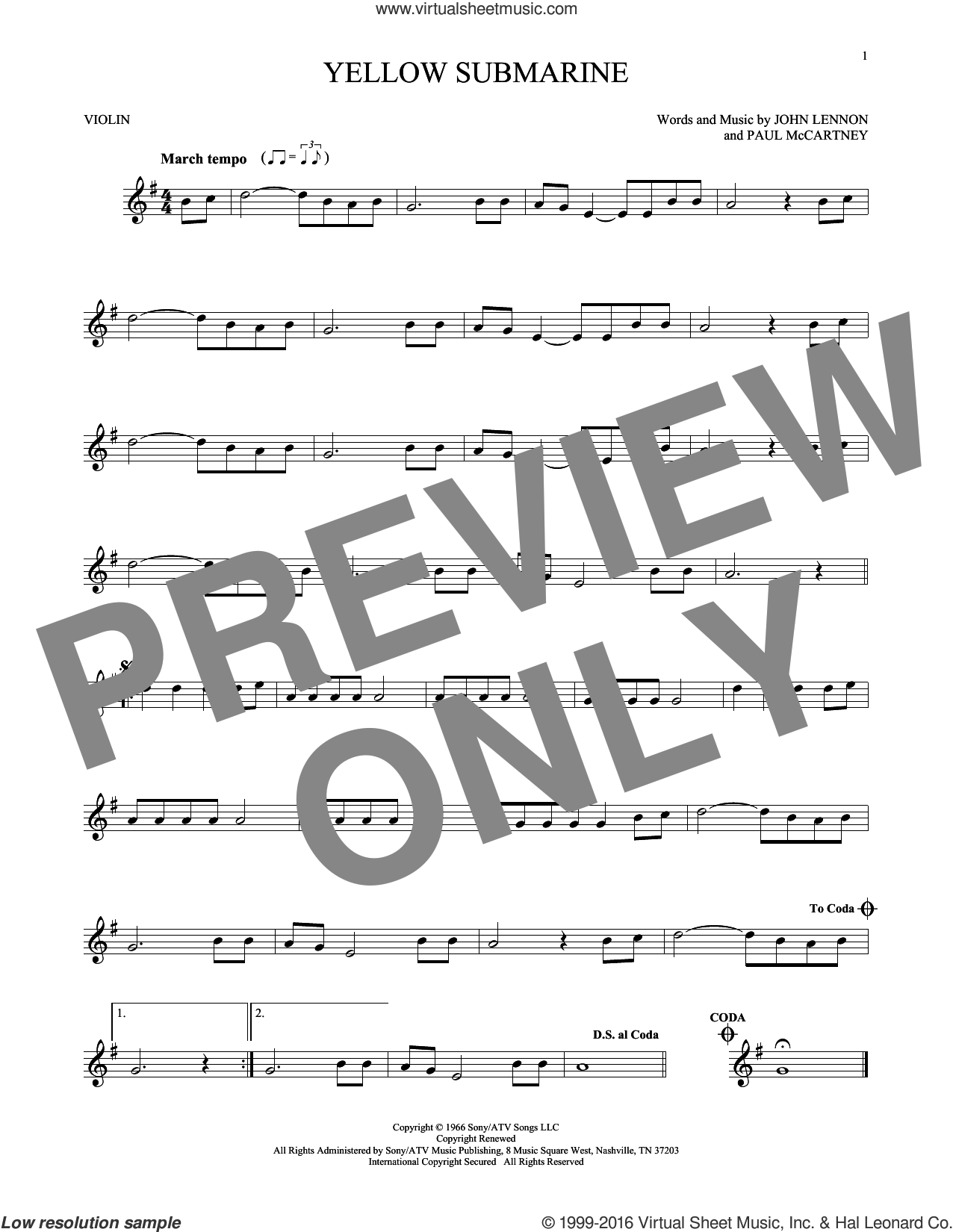 Yellow Submarine sheet music for violin solo by Paul McCartney, The Beatles and John Lennon. Score Image Preview.