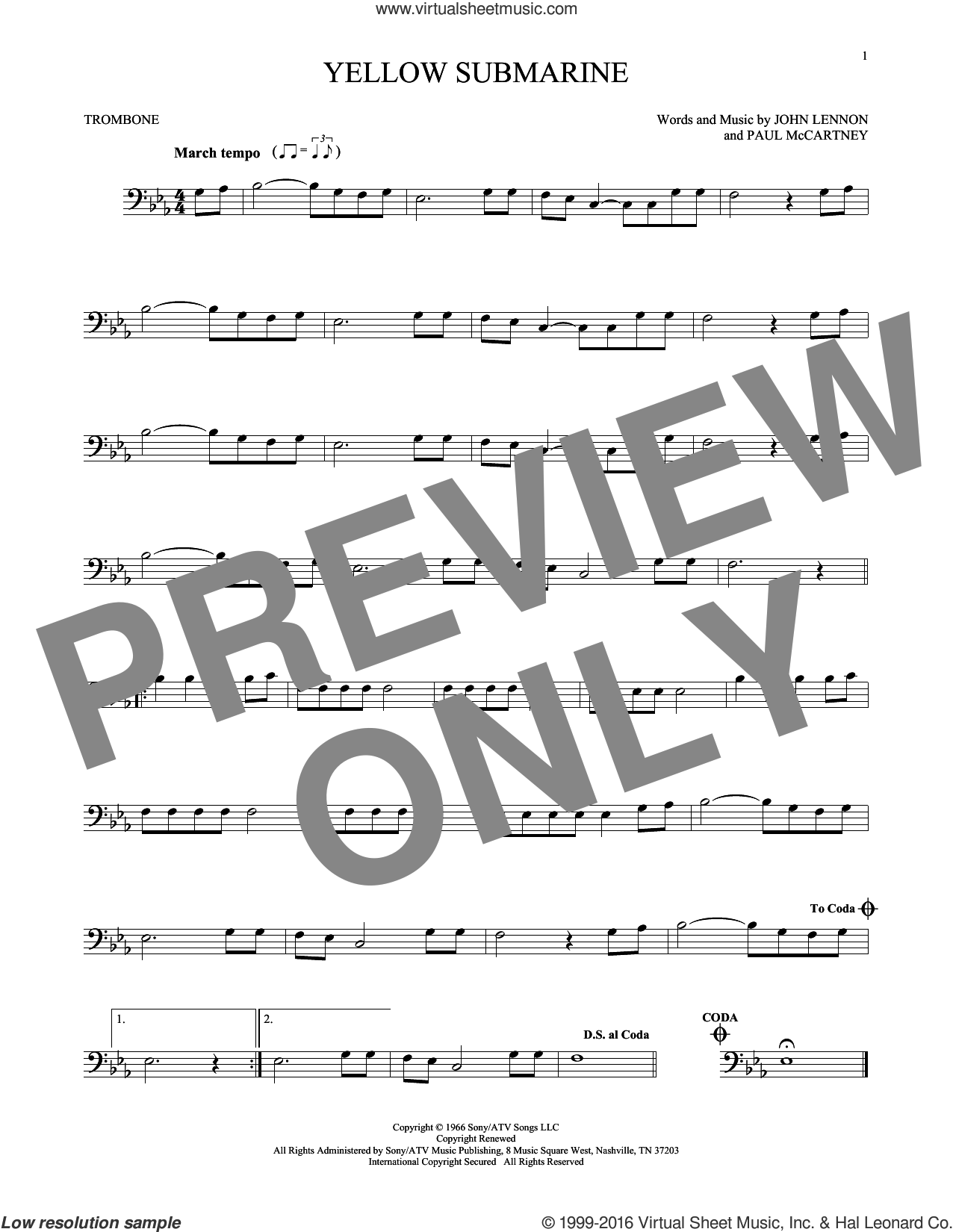 Yellow Submarine sheet music for trombone solo by The Beatles, John Lennon and Paul McCartney, intermediate skill level