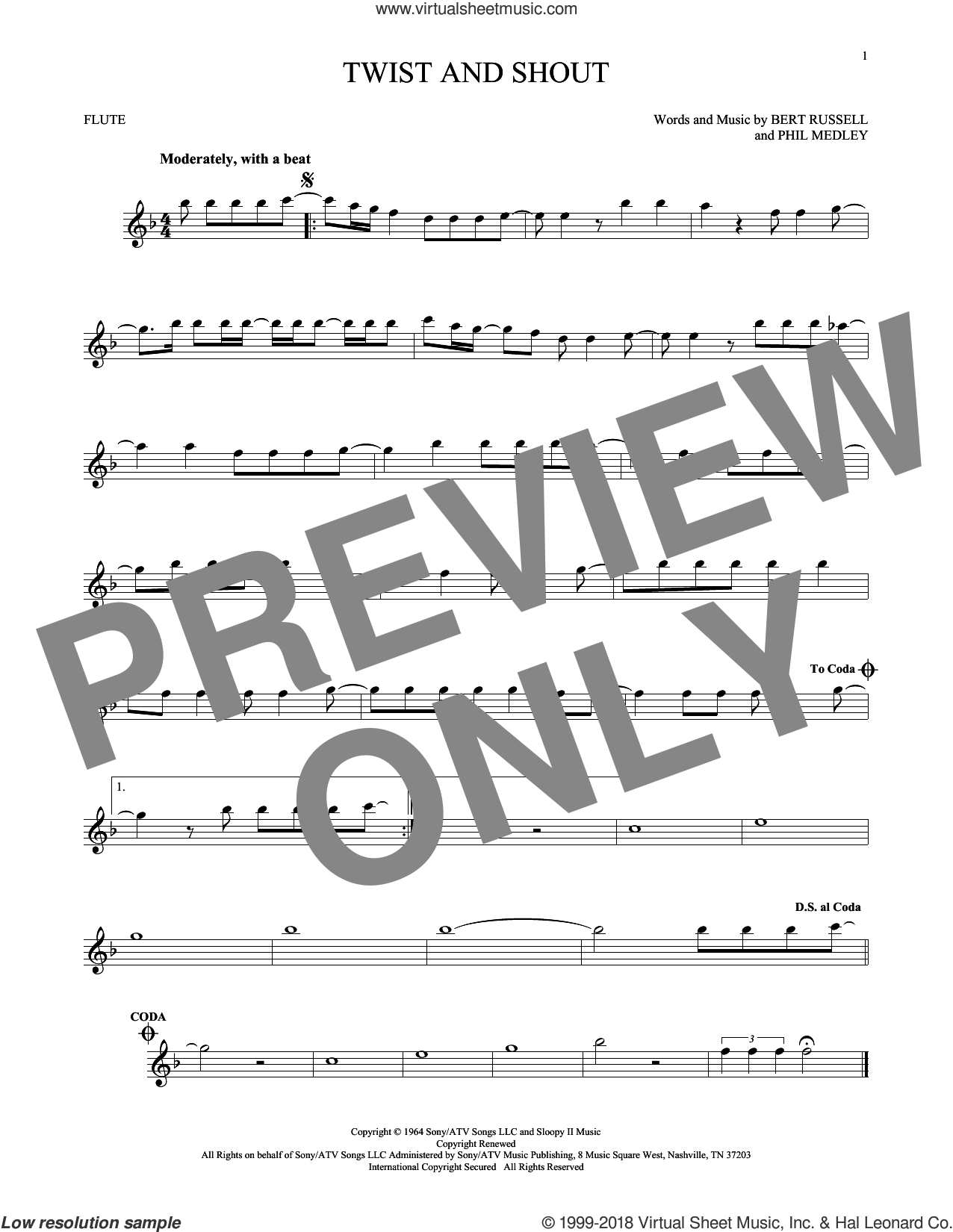 Twist And Shout sheet music for flute solo by The Beatles, The Isley Brothers, Bert Russell and Phil Medley, intermediate