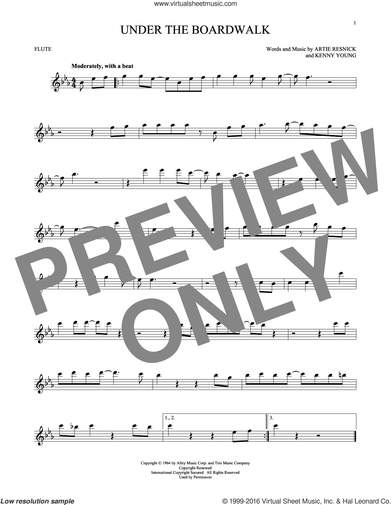 Under The Boardwalk sheet music for flute solo by The Drifters, intermediate skill level