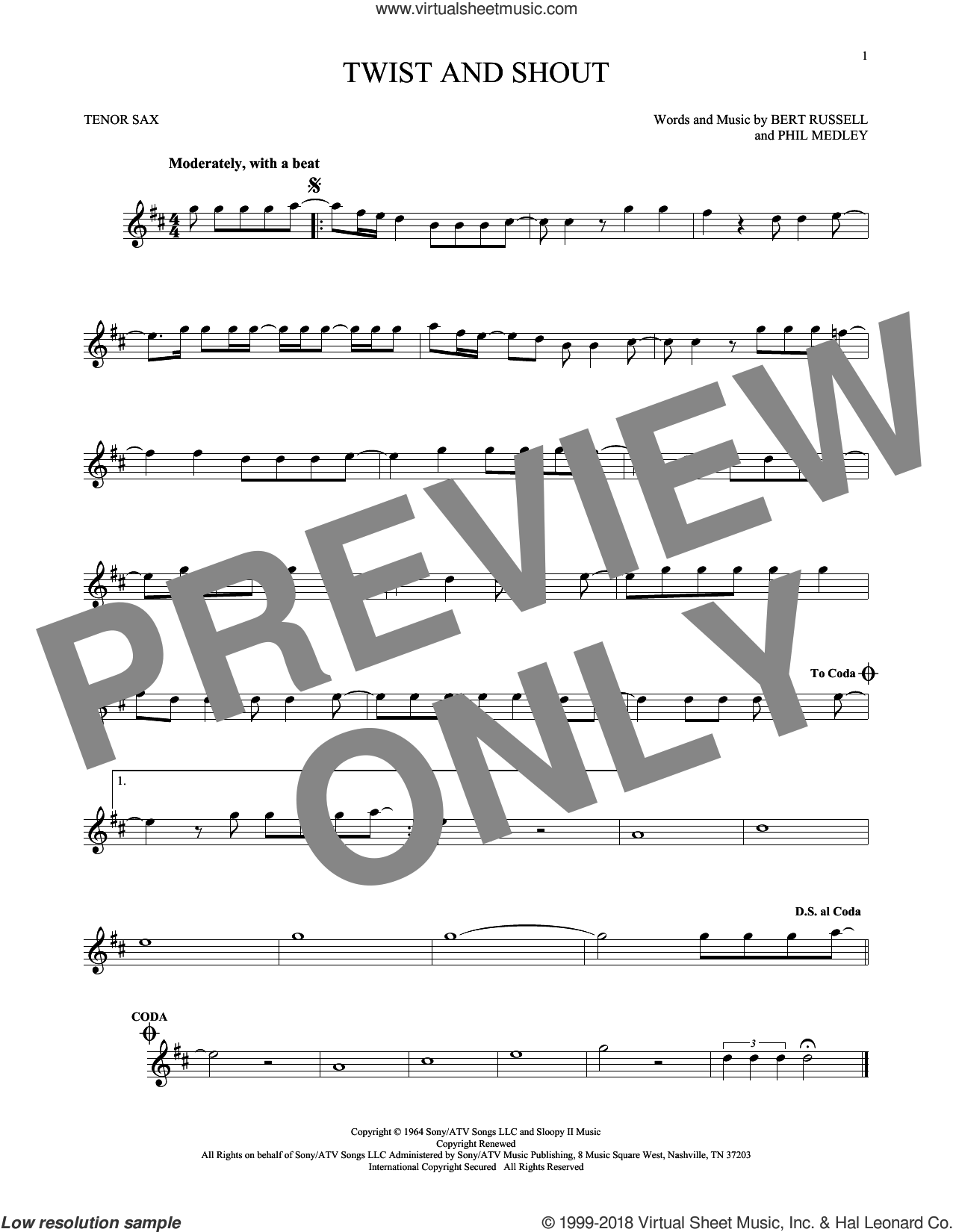 Twist And Shout sheet music for tenor saxophone solo by Phil Medley, The Beatles, The Isley Brothers and Bert Russell. Score Image Preview.