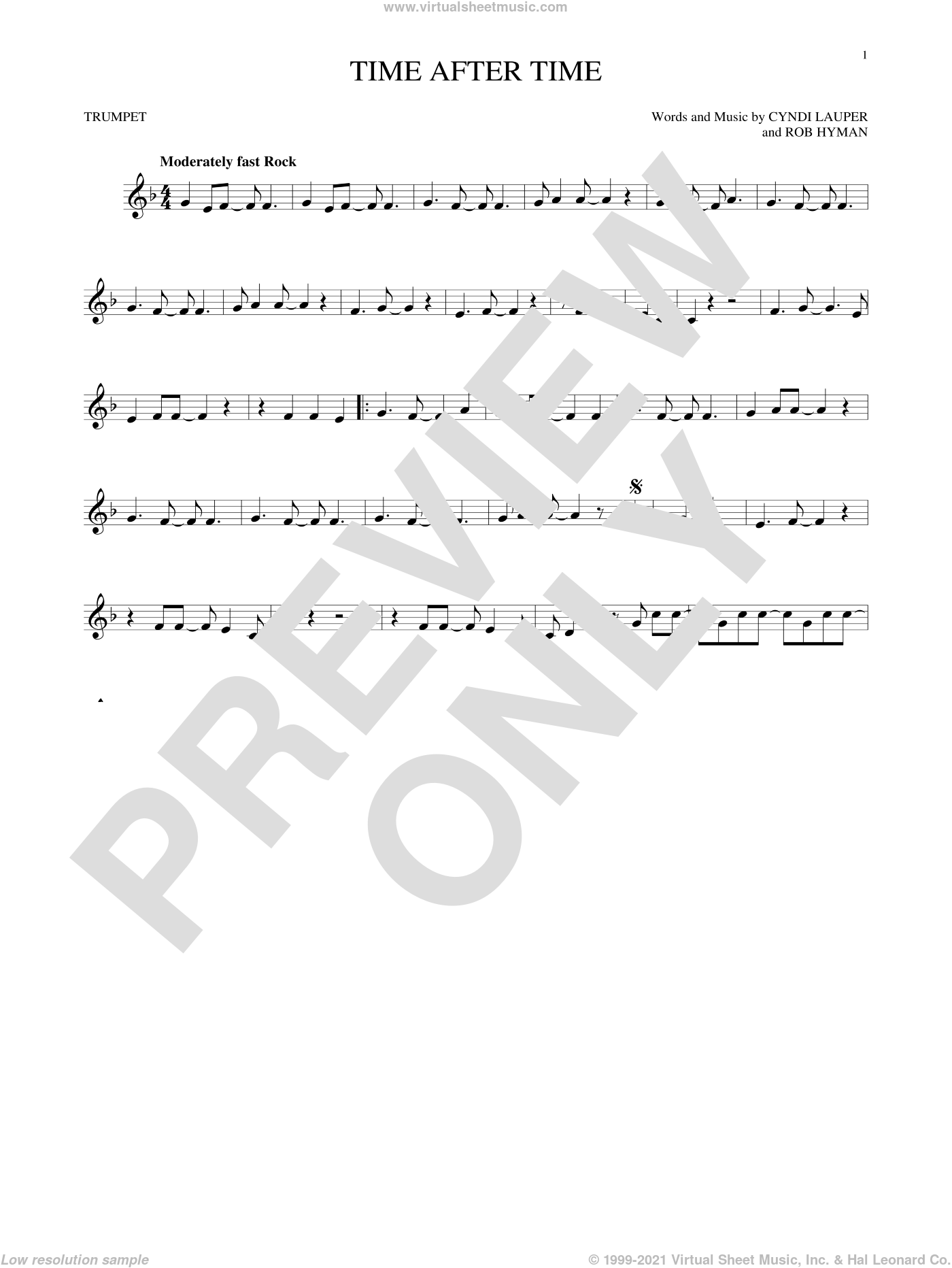 Time After Time sheet music for trumpet solo by Cyndi Lauper, Inoj, Javier Colon and Rob Hyman, intermediate skill level