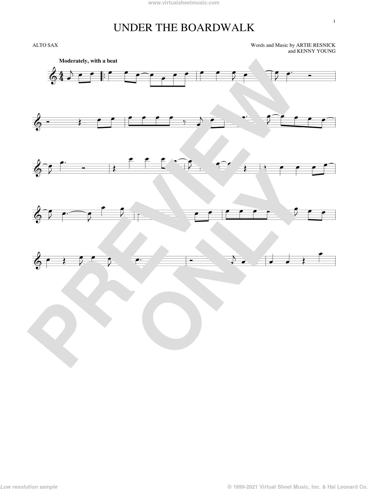 Under The Boardwalk sheet music for alto saxophone solo by The Drifters, intermediate. Score Image Preview.