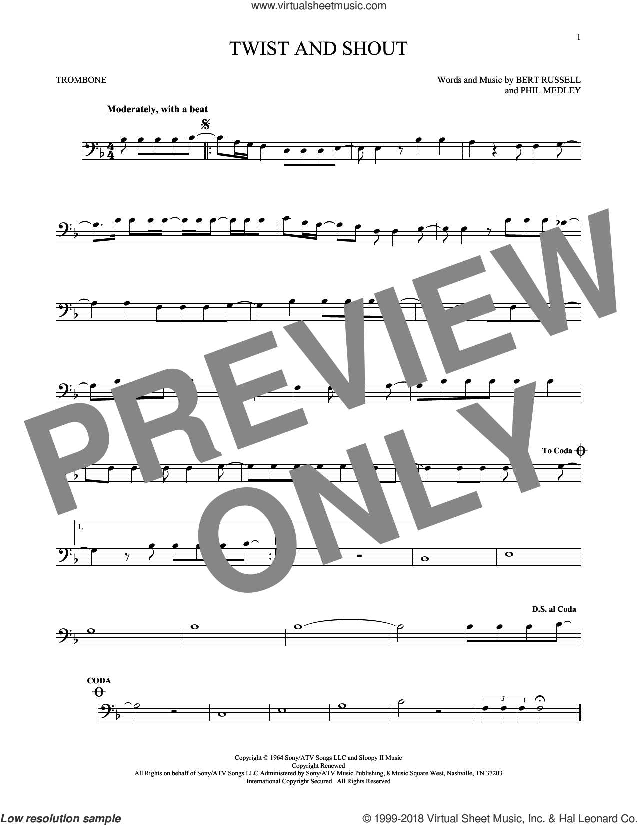 Twist And Shout sheet music for trombone solo by The Beatles and The Isley Brothers, intermediate. Score Image Preview.