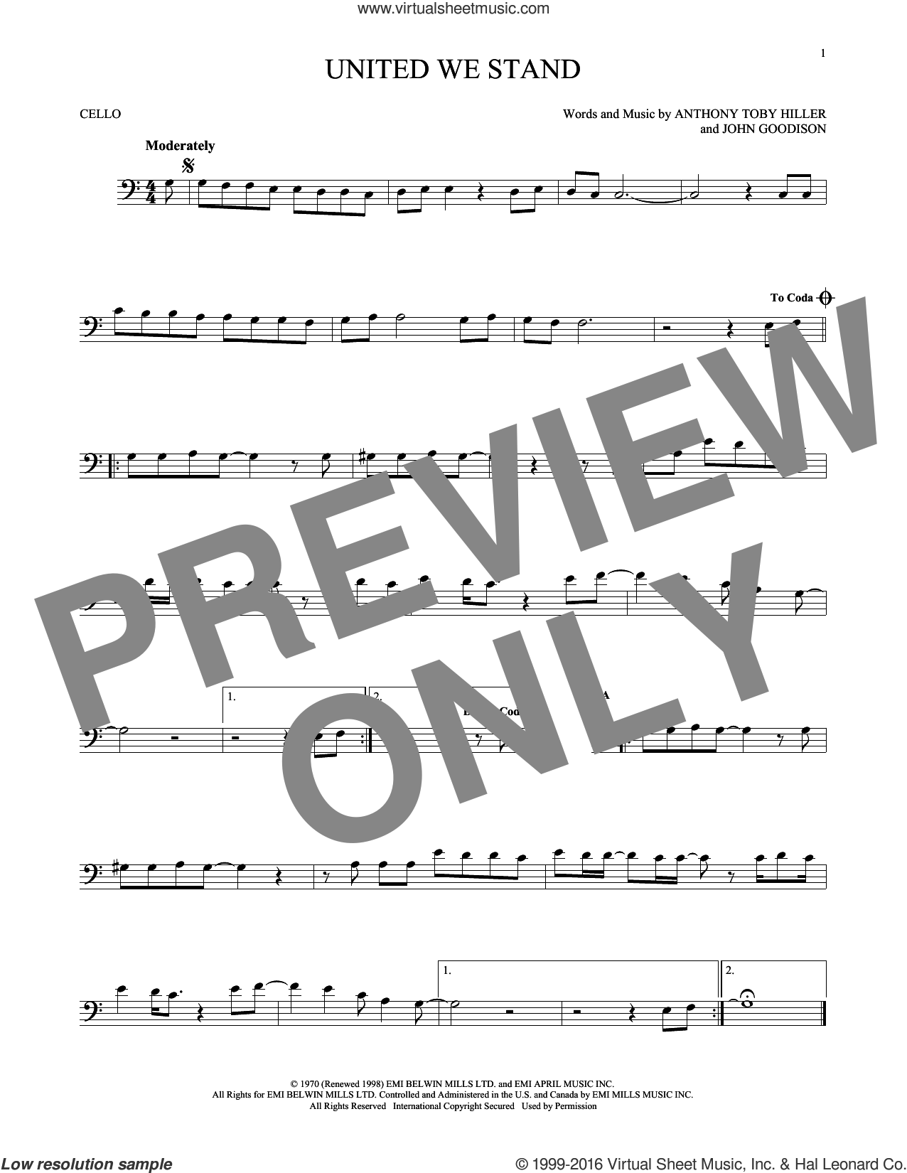 United We Stand sheet music for cello solo by Brotherhood Of Man, Peter Simons and Toby Hiller, intermediate skill level