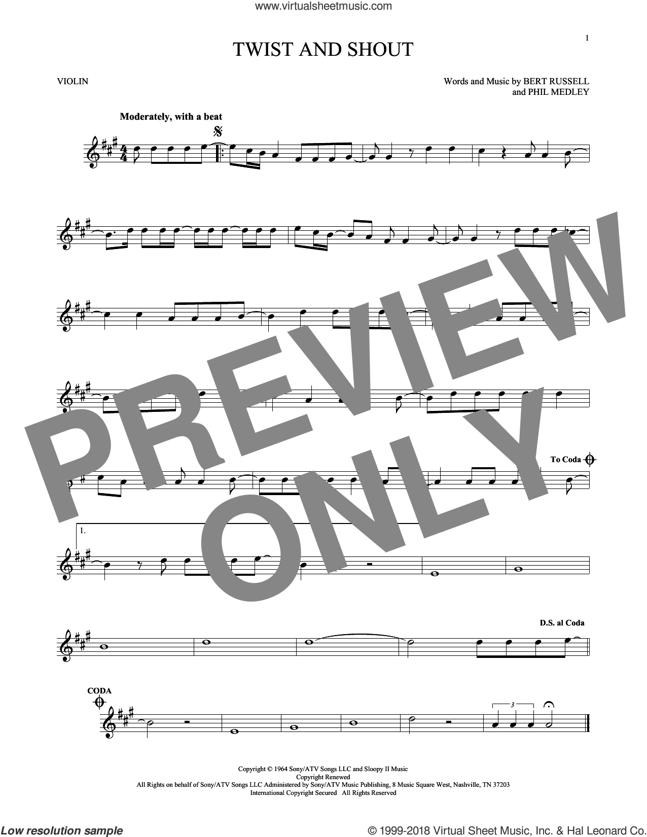 Twist And Shout sheet music for violin solo by Phil Medley, The Beatles, The Isley Brothers and Bert Russell. Score Image Preview.