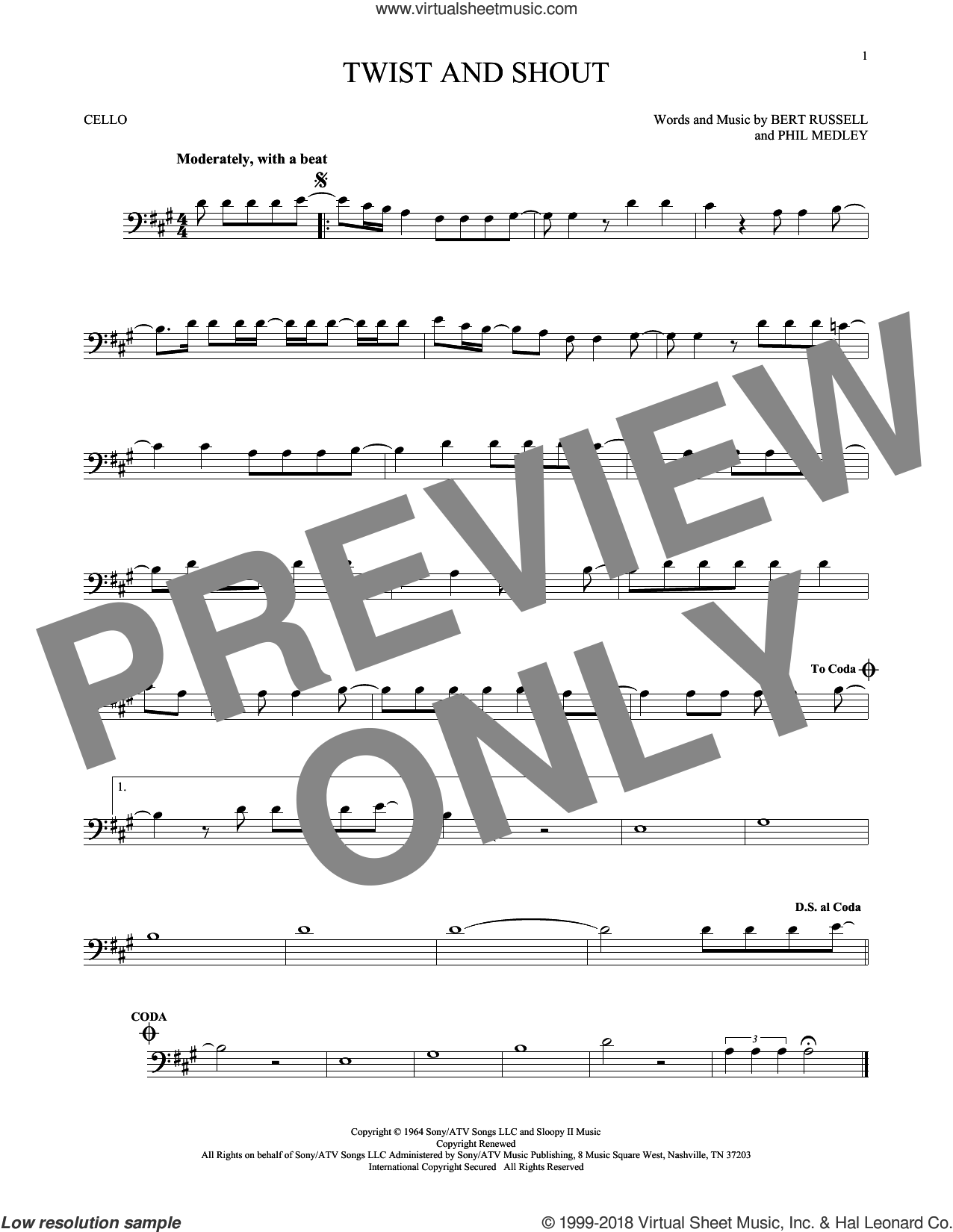 Twist And Shout sheet music for cello solo by The Beatles, The Isley Brothers, Bert Russell and Phil Medley, intermediate skill level