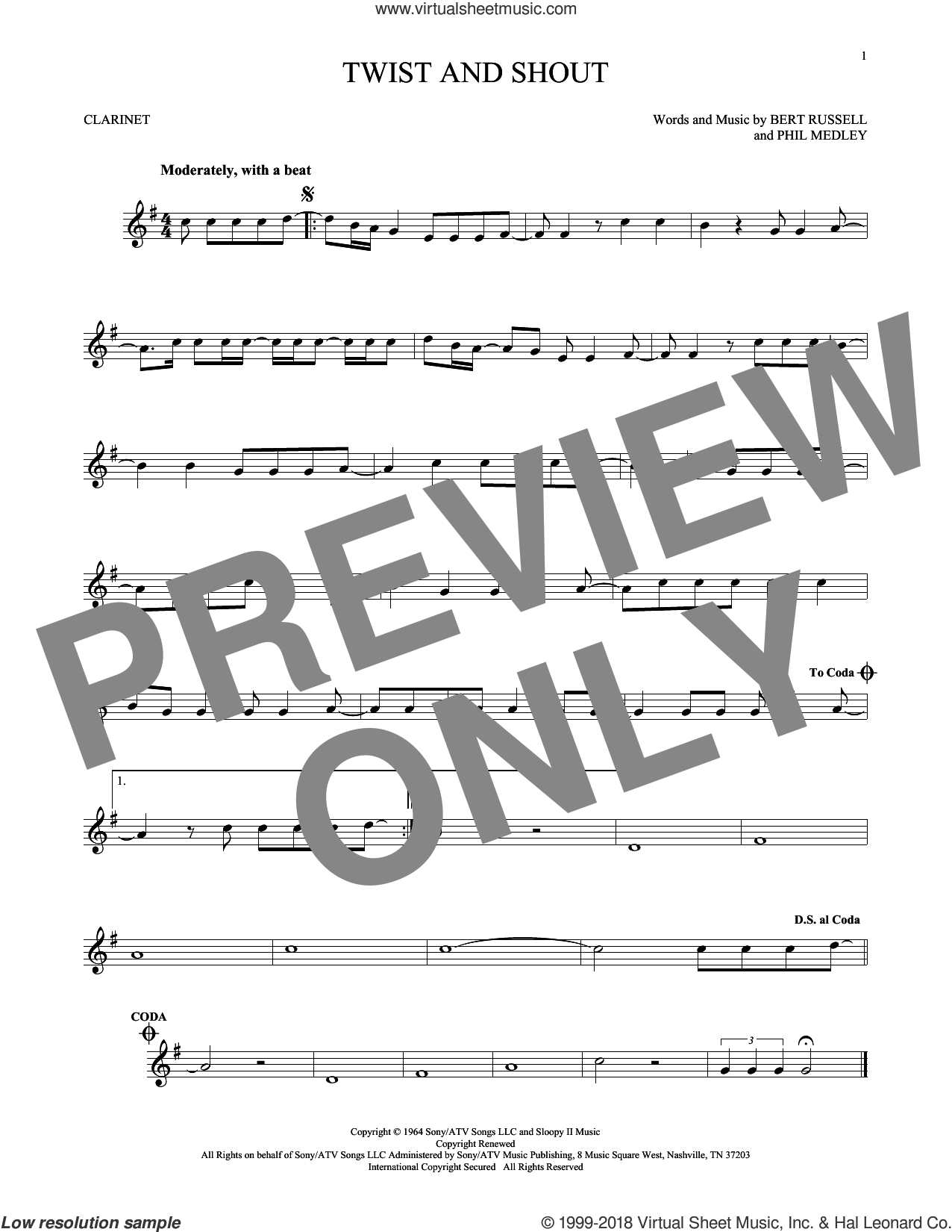 Twist And Shout sheet music for clarinet solo by Phil Medley, The Beatles, The Isley Brothers and Bert Russell. Score Image Preview.
