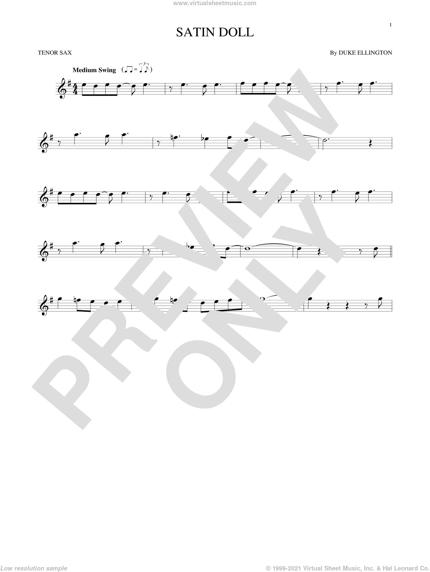 Satin Doll sheet music for tenor saxophone solo by Duke Ellington, Billy Strayhorn and Johnny Mercer, intermediate skill level
