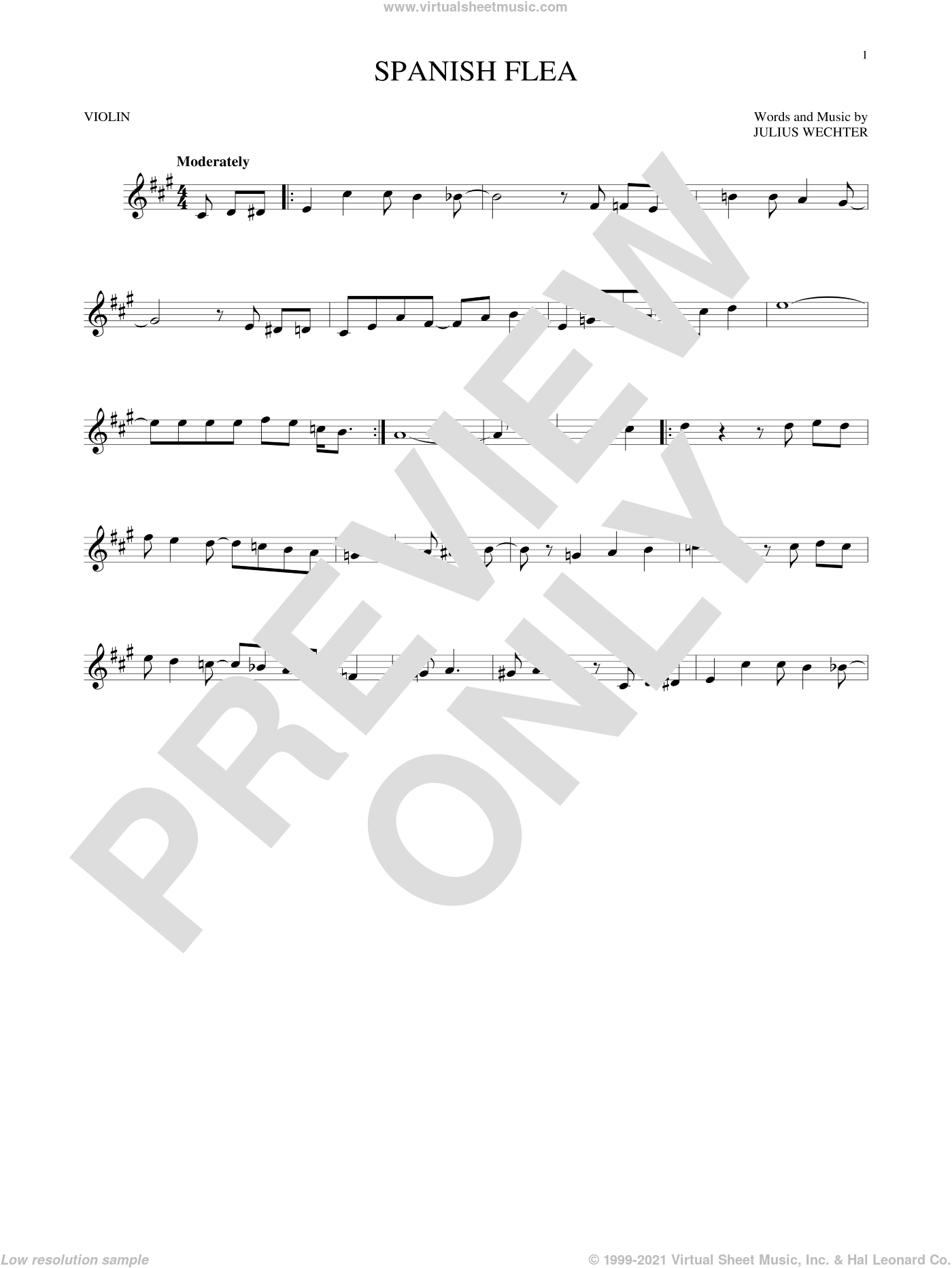 Spanish Flea sheet music for violin solo by Herb Alpert & The Tijuana Brass Band, intermediate. Score Image Preview.