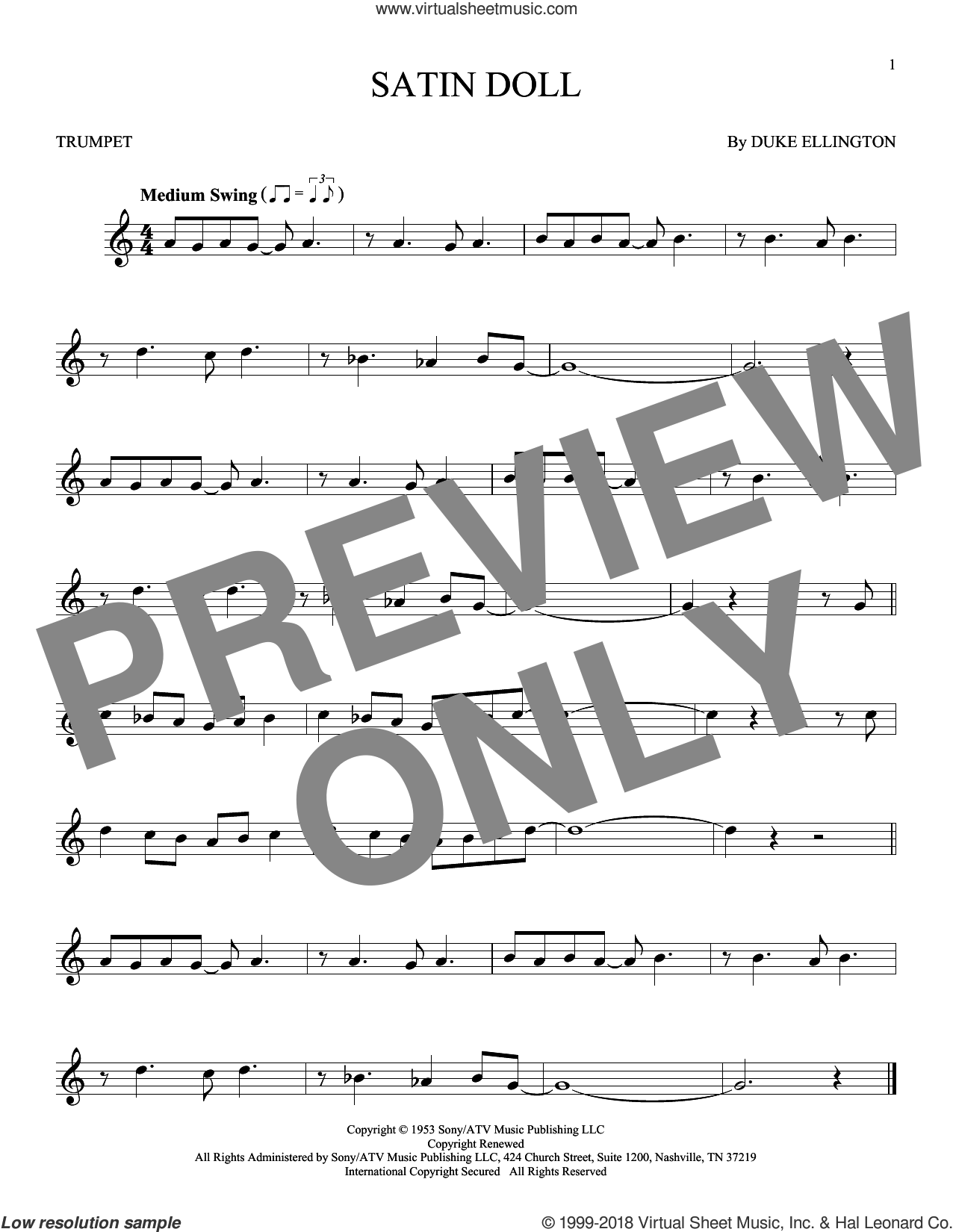Satin Doll sheet music for trumpet solo by Duke Ellington, Billy Strayhorn and Johnny Mercer. Score Image Preview.