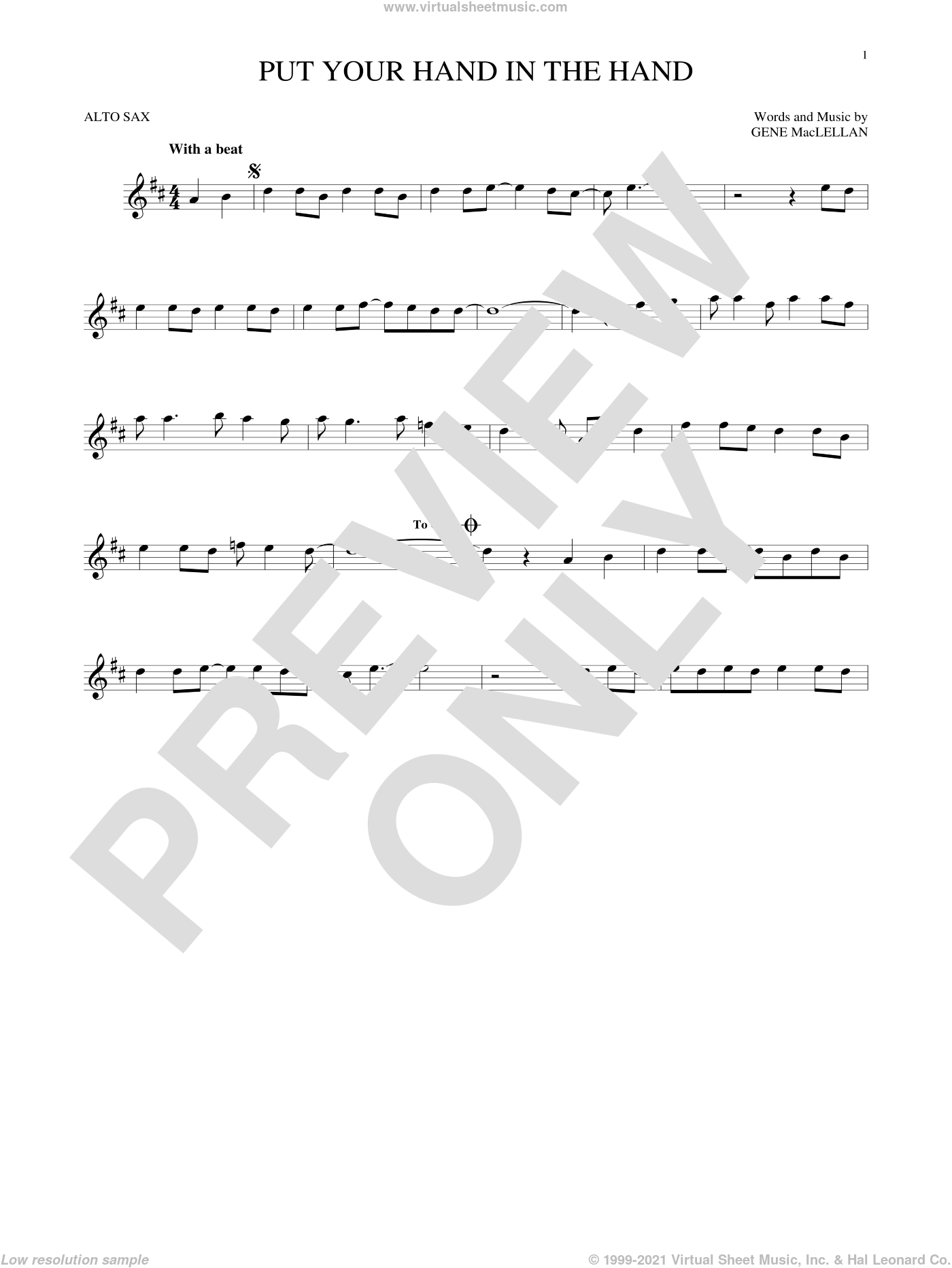 Put Your Hand In The Hand sheet music for alto saxophone solo by Gene MacLellan and MacLellan and Ocean, intermediate skill level