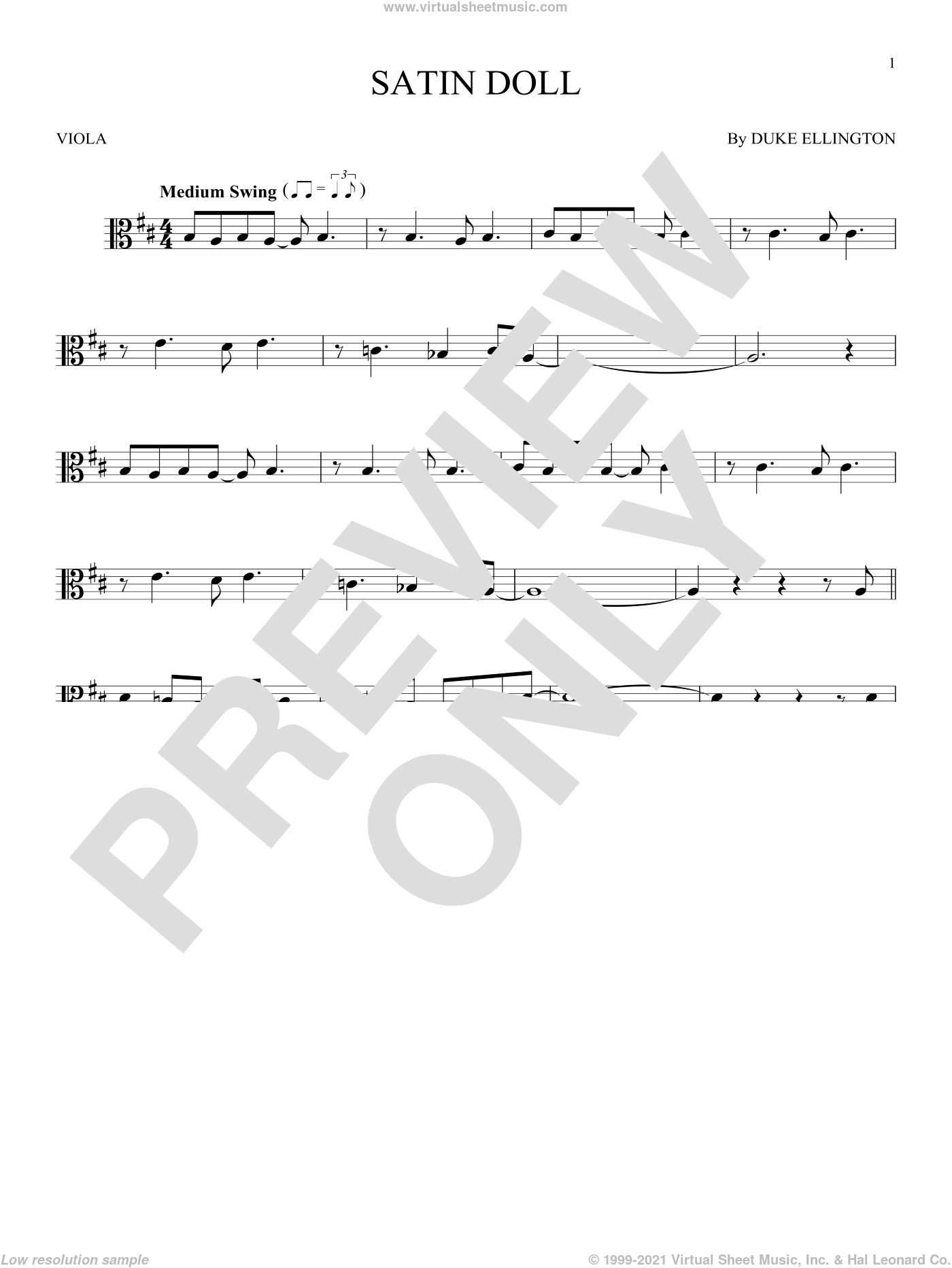 Satin Doll sheet music for viola solo by Johnny Mercer, Billy Strayhorn and Duke Ellington. Score Image Preview.