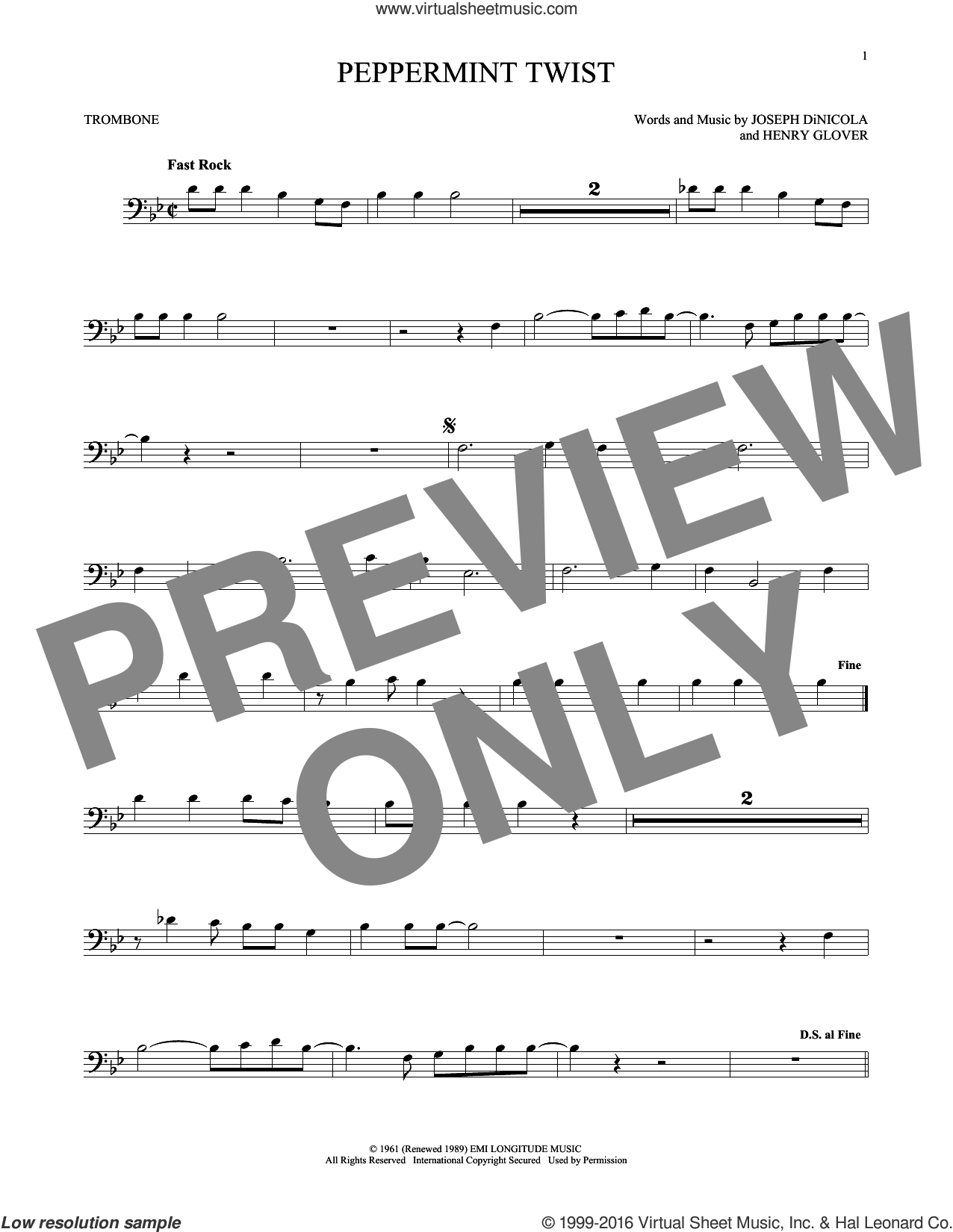 Peppermint Twist sheet music for trombone solo by Joey Dee & The Starliters, Henry Glover and Joseph DiNicola, intermediate skill level