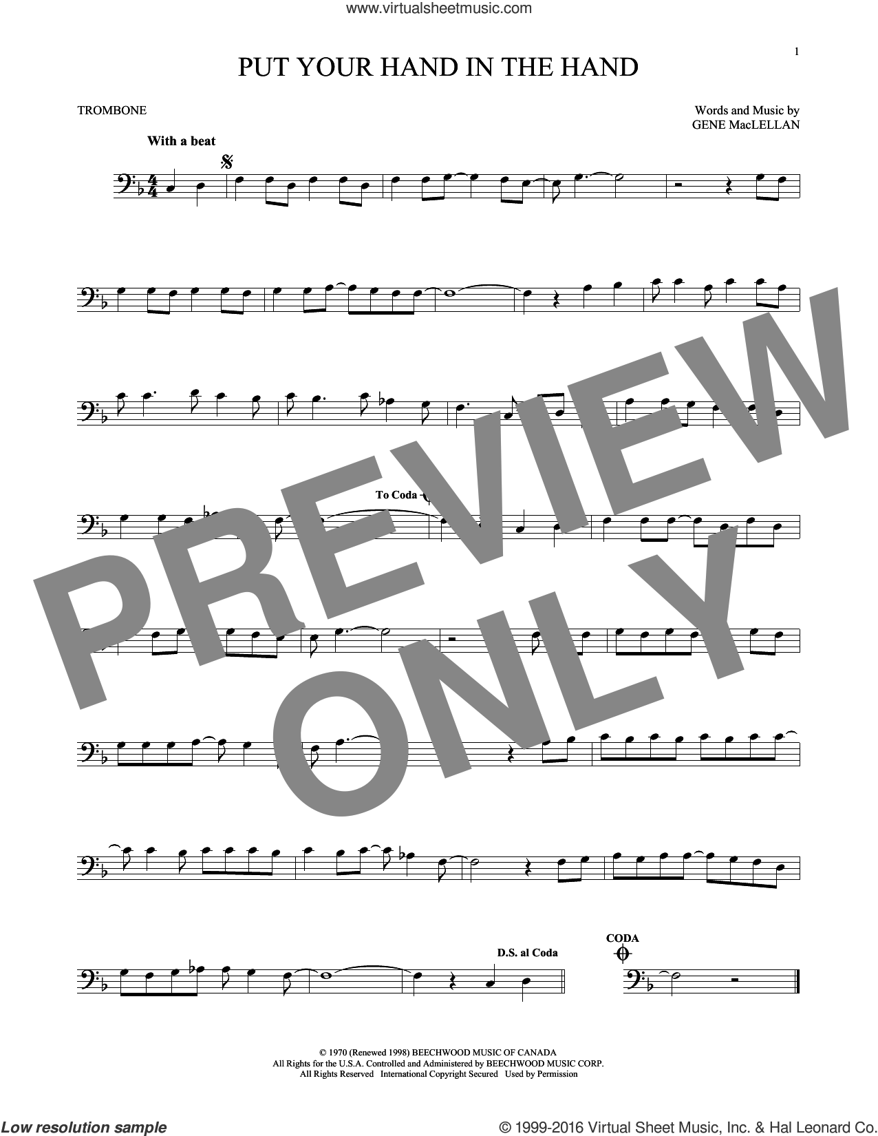 Put Your Hand In The Hand sheet music for trombone solo by Gene MacLellan and MacLellan and Ocean, intermediate skill level