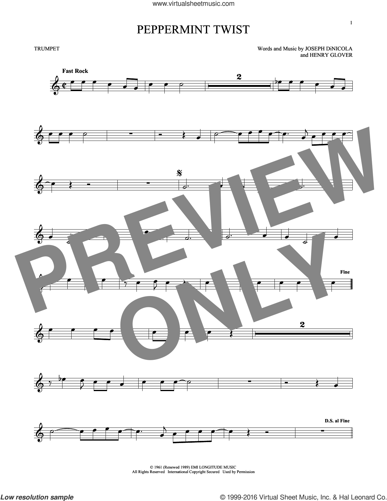 Peppermint Twist sheet music for trumpet solo by Joey Dee & The Starliters, Henry Glover and Joseph DiNicola, intermediate skill level