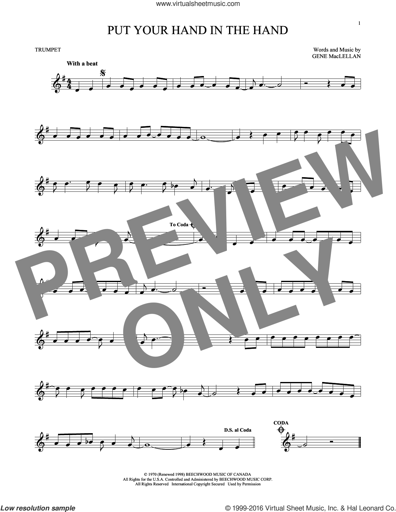 Put Your Hand In The Hand sheet music for trumpet solo by Ocean and Gene MacLellan, intermediate trumpet. Score Image Preview.