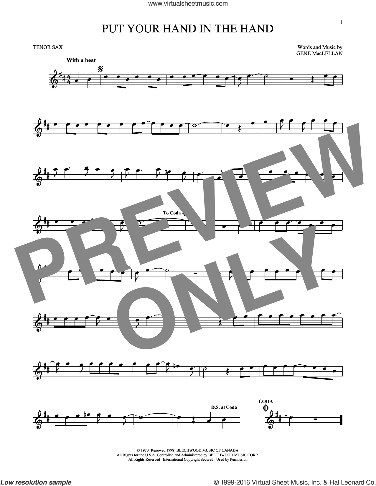 Put Your Hand In The Hand sheet music for tenor saxophone solo by Gene MacLellan and MacLellan and Ocean, intermediate skill level