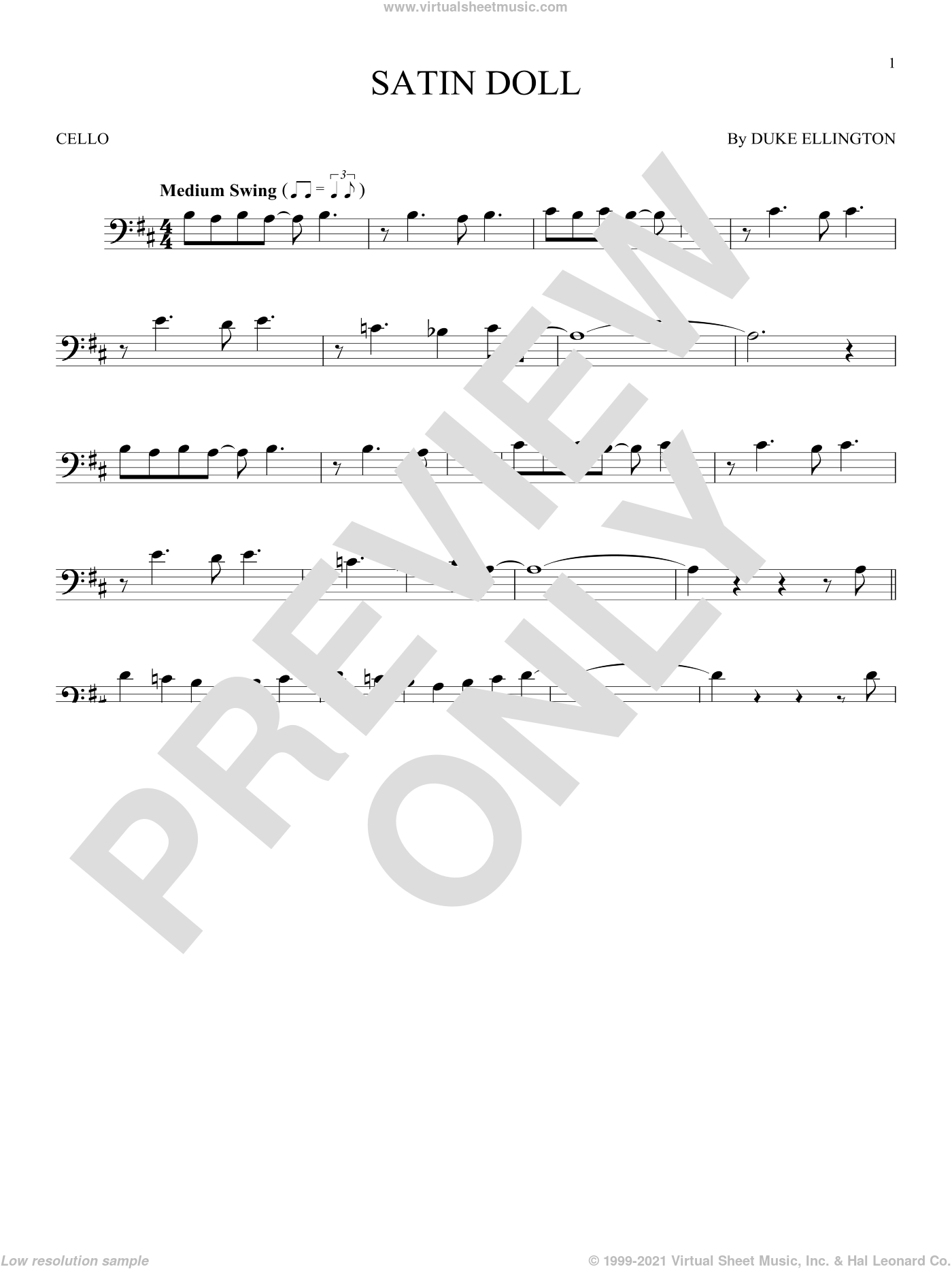 Satin Doll sheet music for cello solo by Duke Ellington, Billy Strayhorn and Johnny Mercer. Score Image Preview.