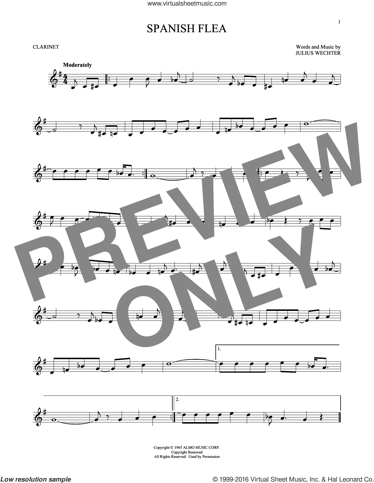 Spanish Flea sheet music for clarinet solo by Herb Alpert & The Tijuana Brass and Julius Wechter, intermediate skill level
