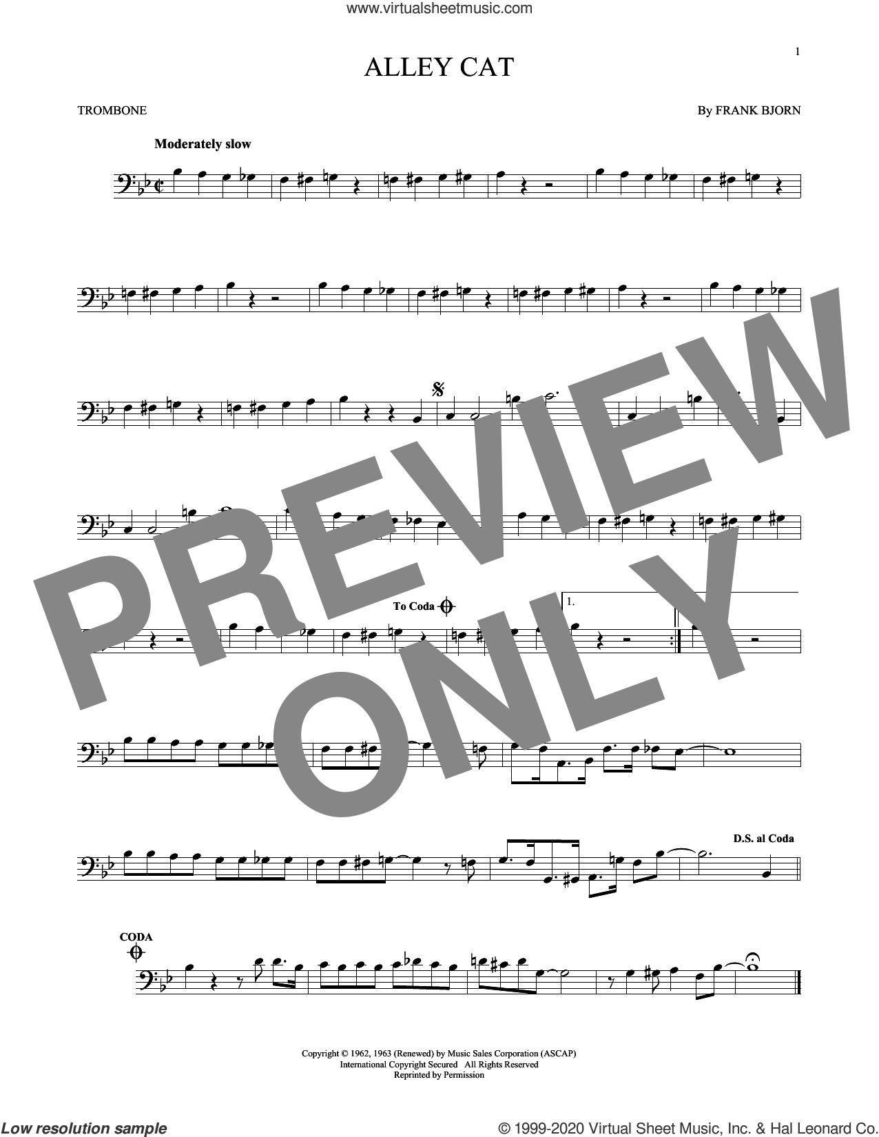 Alley Cat sheet music for trombone solo by Bent Fabric and Frank Bjorn, intermediate skill level