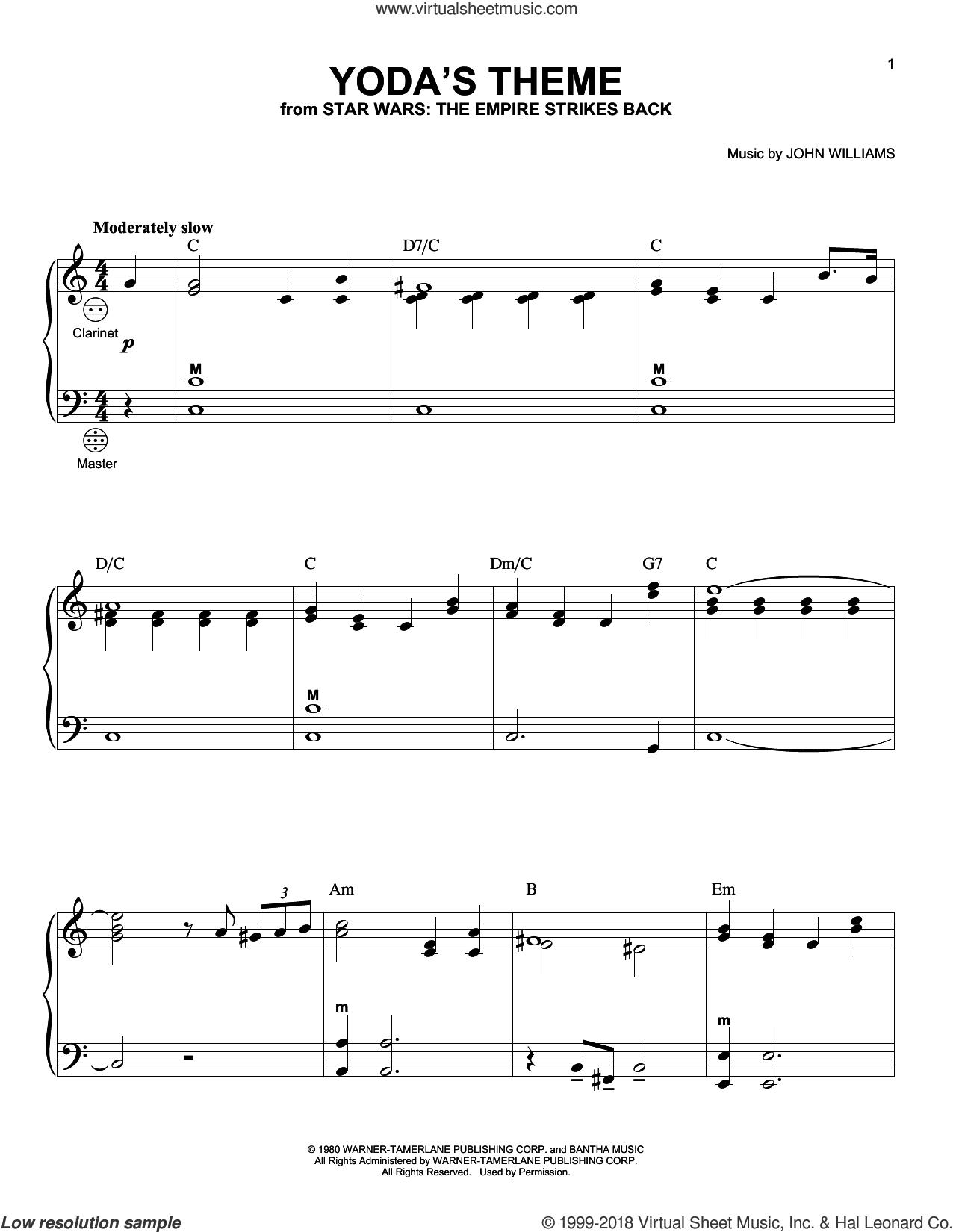 Yoda's Theme sheet music for accordion by John Williams, intermediate skill level