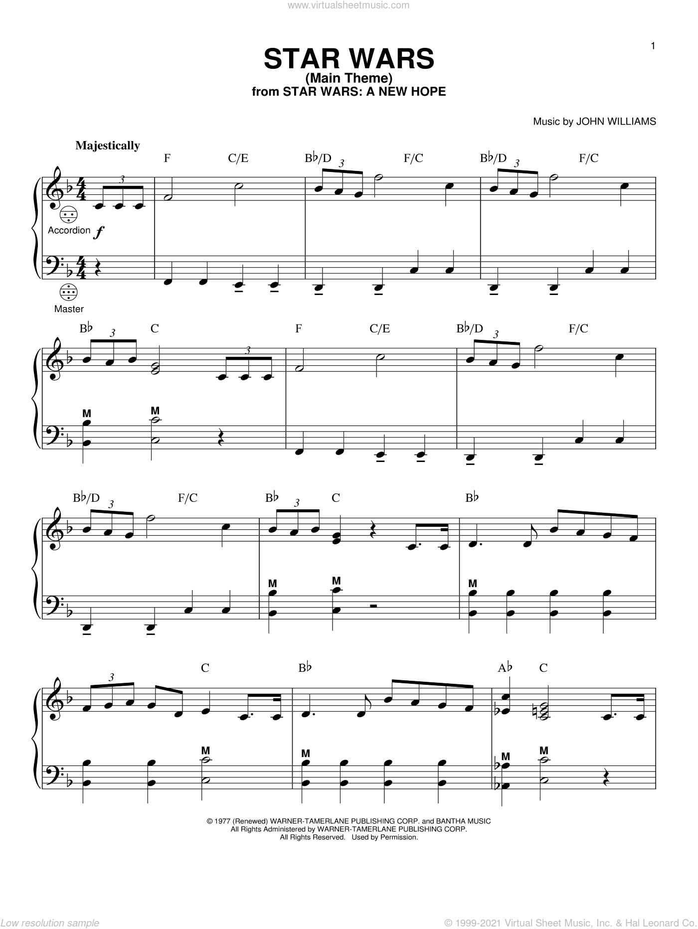 Star Wars (Main Theme) sheet music for accordion by John Williams, intermediate skill level