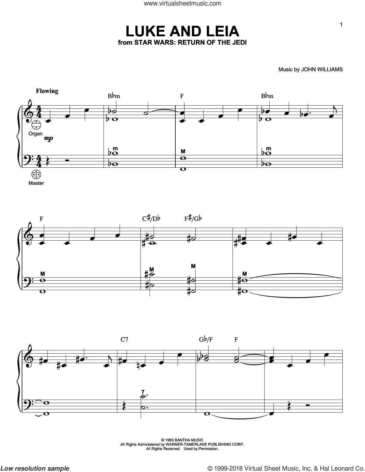 Luke And Leia sheet music for accordion by John Williams, intermediate skill level