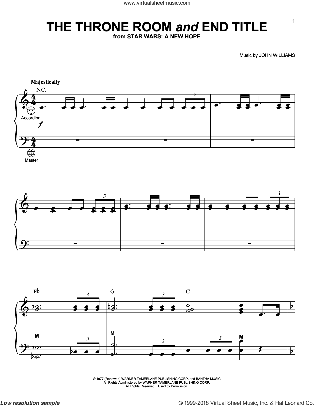 The Throne Room (And End Title) sheet music for accordion by John Williams, intermediate skill level