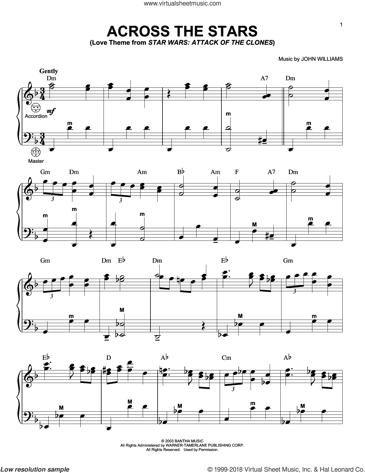 Across The Stars sheet music for accordion by John Williams, intermediate skill level