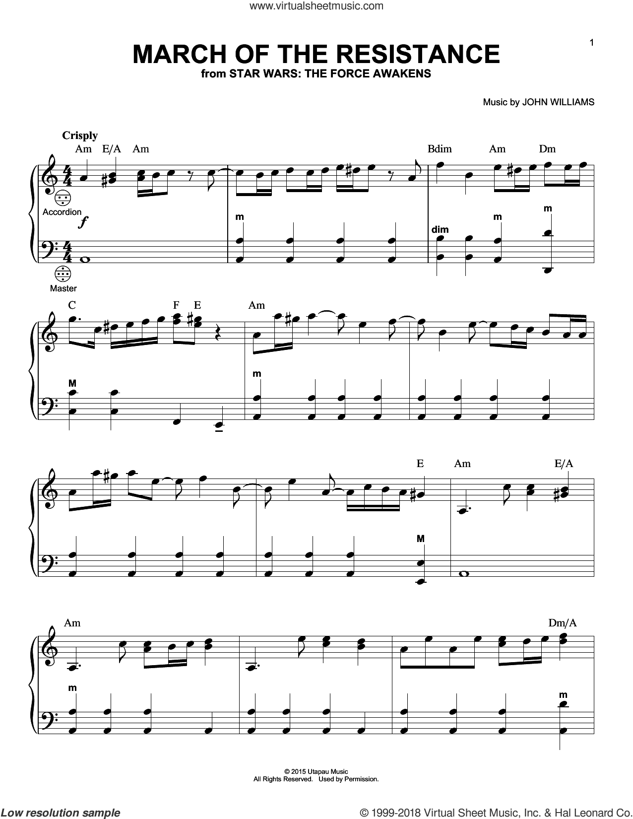 March Of The Resistance sheet music for accordion by John Williams, intermediate skill level