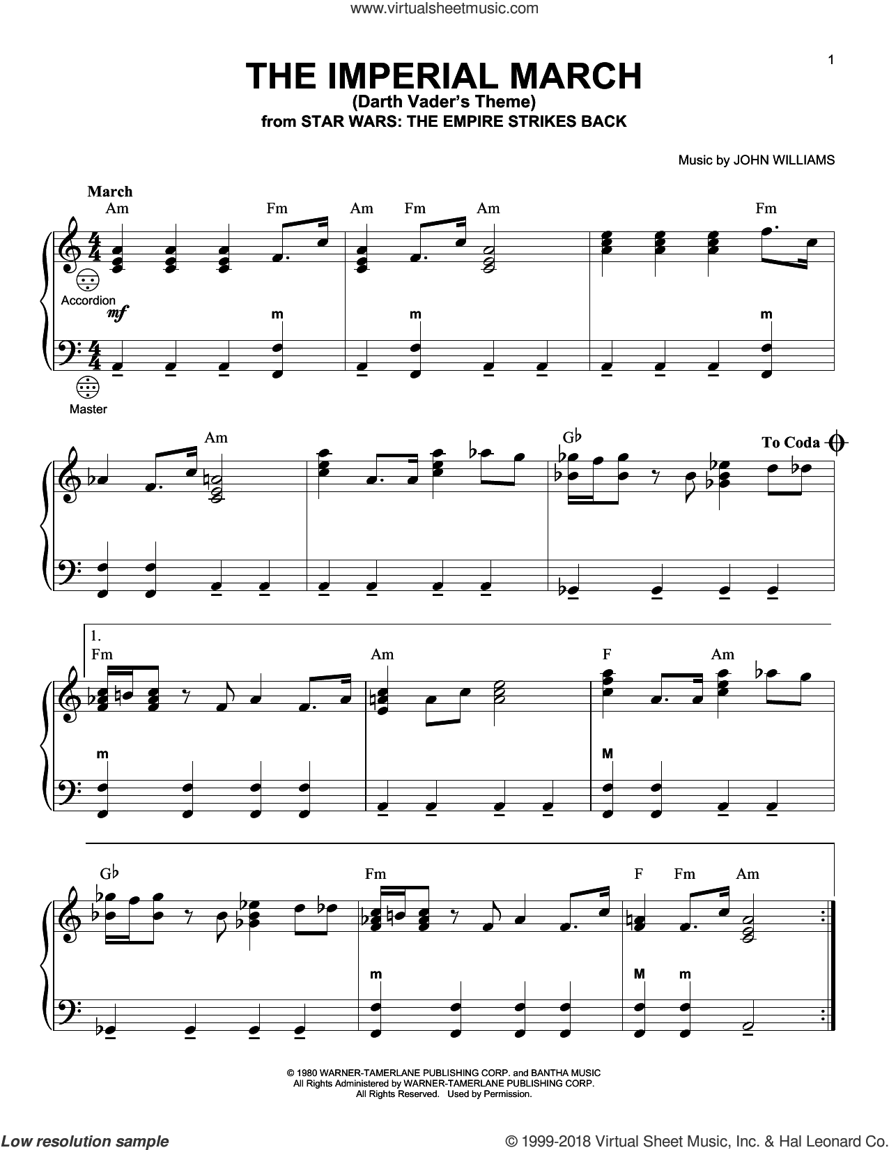 The Imperial March (Darth Vader's Theme) sheet music for accordion by John Williams, intermediate skill level