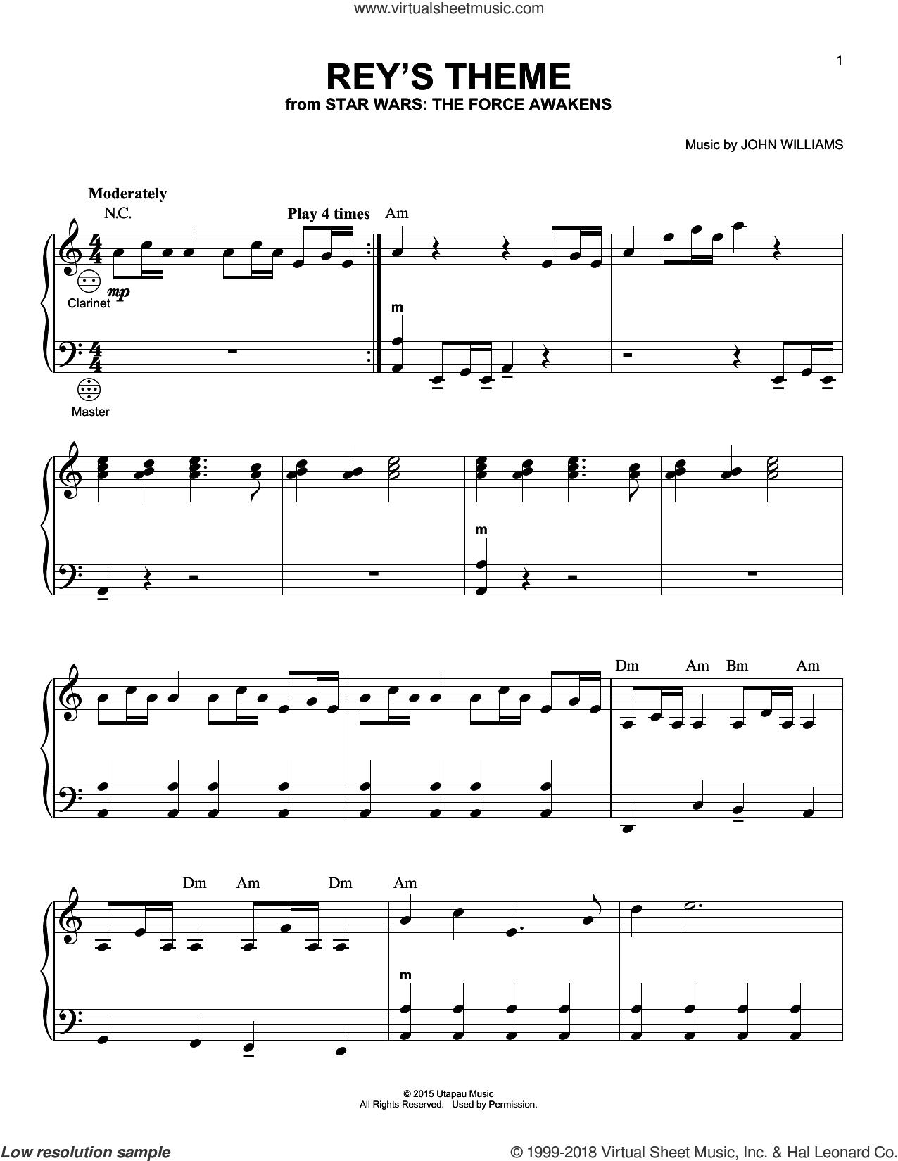 Rey's Theme sheet music for accordion by John Williams, intermediate skill level
