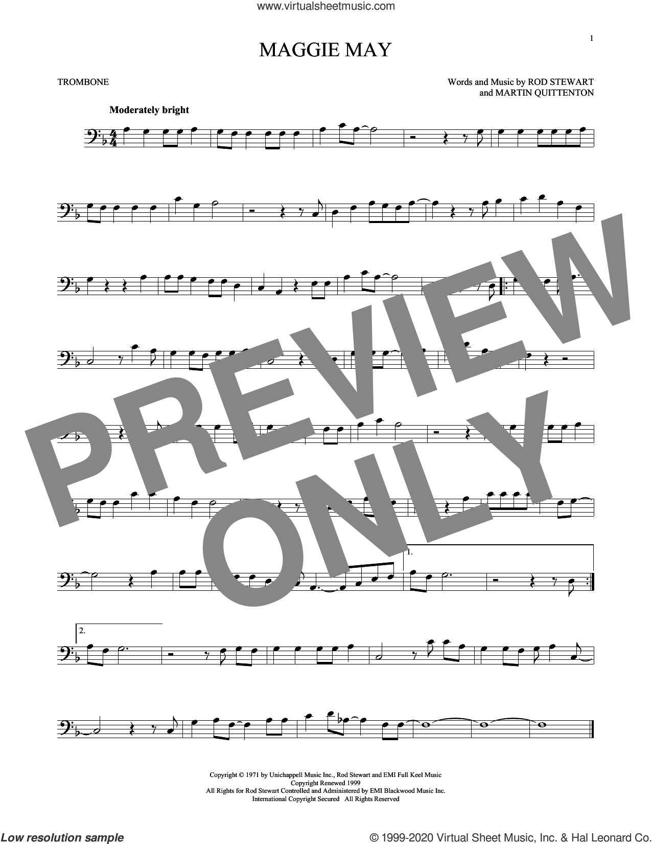 Maggie May sheet music for trombone solo by Rod Stewart and Martin Quittenton, intermediate skill level