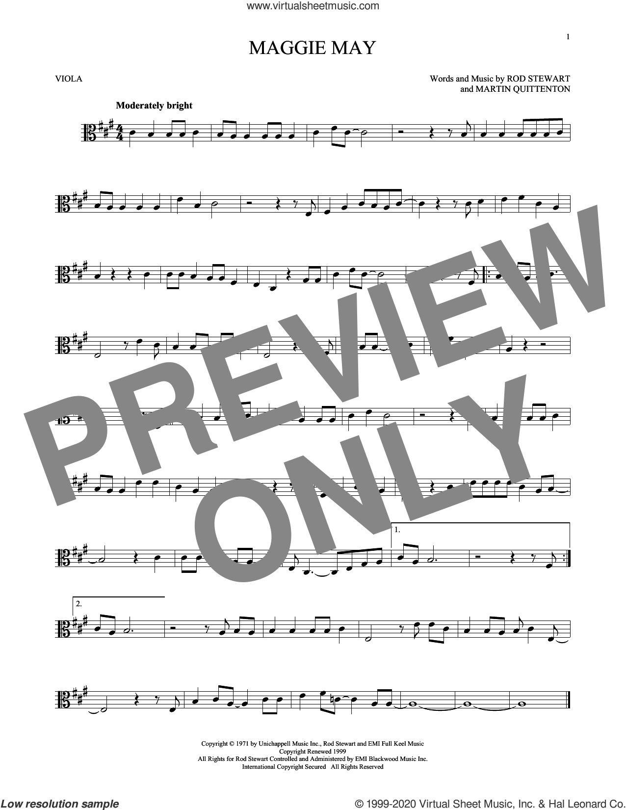Maggie May sheet music for viola solo by Rod Stewart and Martin Quittenton, intermediate skill level