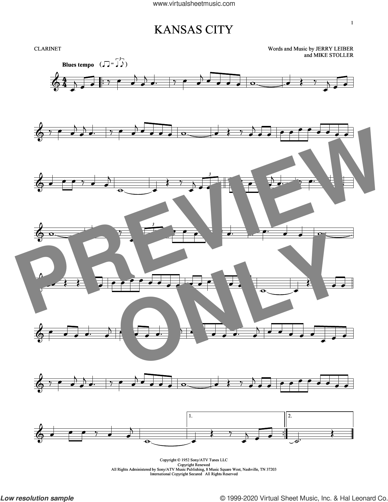 Kansas City sheet music for clarinet solo by Mike Stoller, The Beatles, Wilbert Harrison, Jerry Leiber and Jerry Lieber & Mike Stoller, intermediate skill level